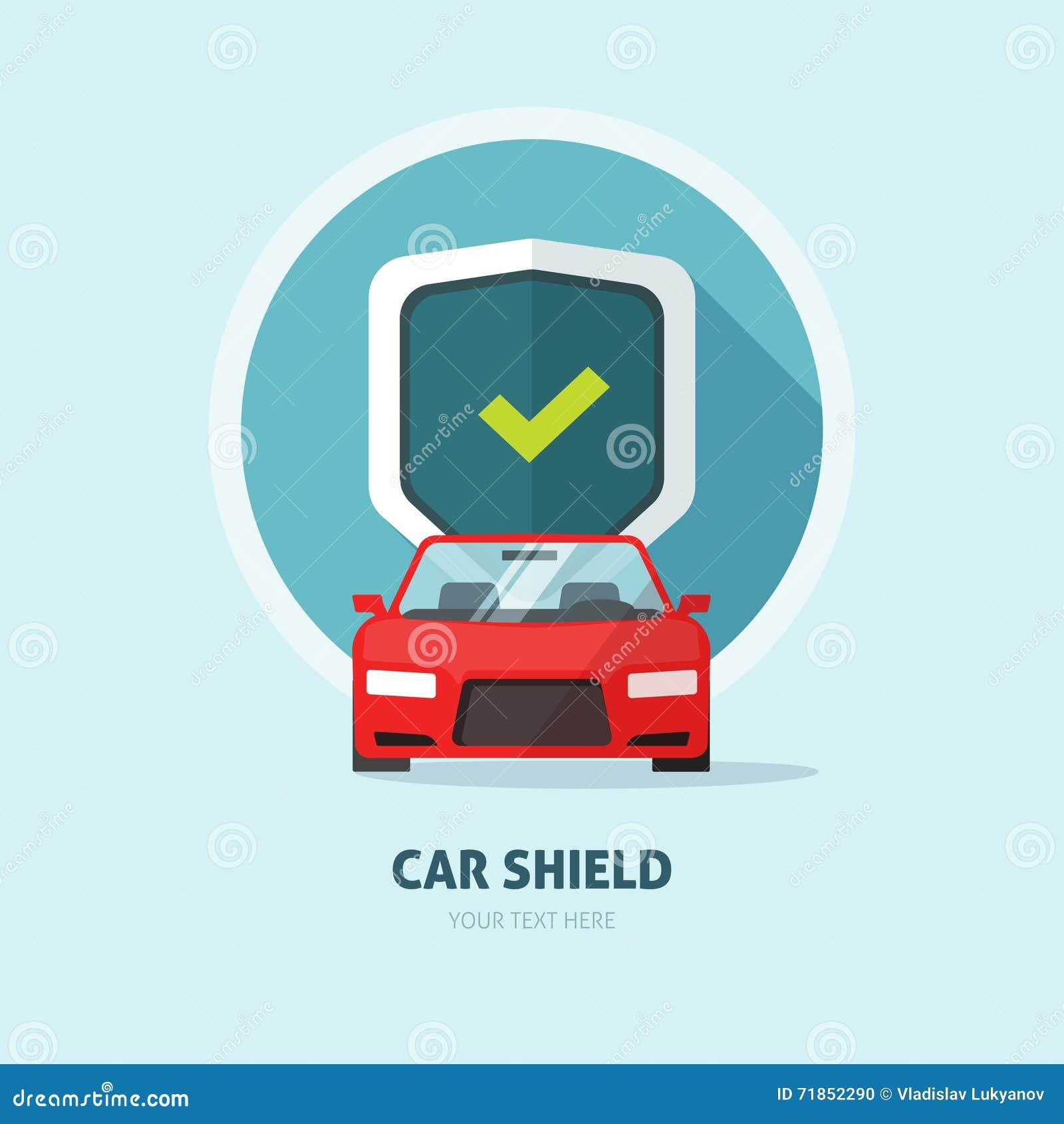 Het teken van het de beschermingsschild van de autowacht, het embleem van de botsingsverzekering, de autodienst