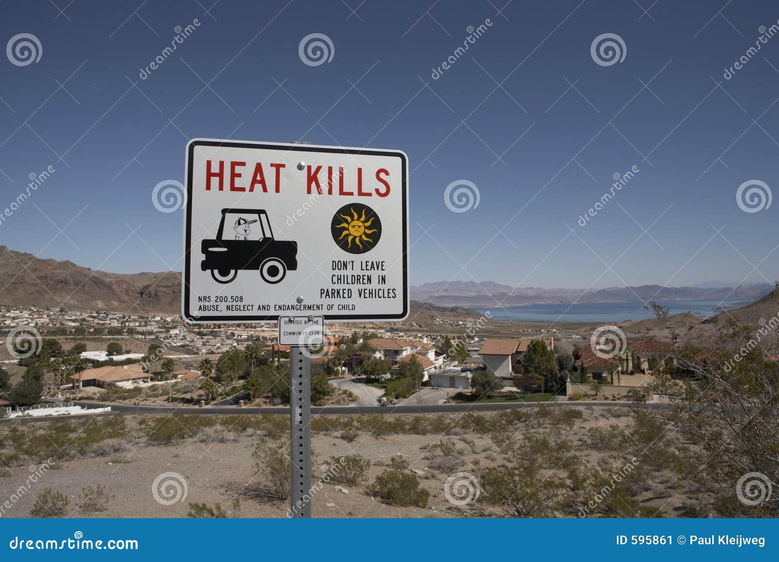 Het teken van het Doden van de hitte dichtbij meerWeide