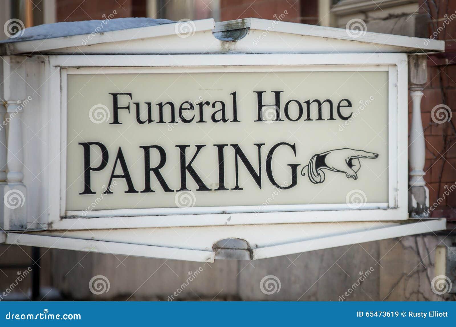 Het teken van het rouwkamerparkeren
