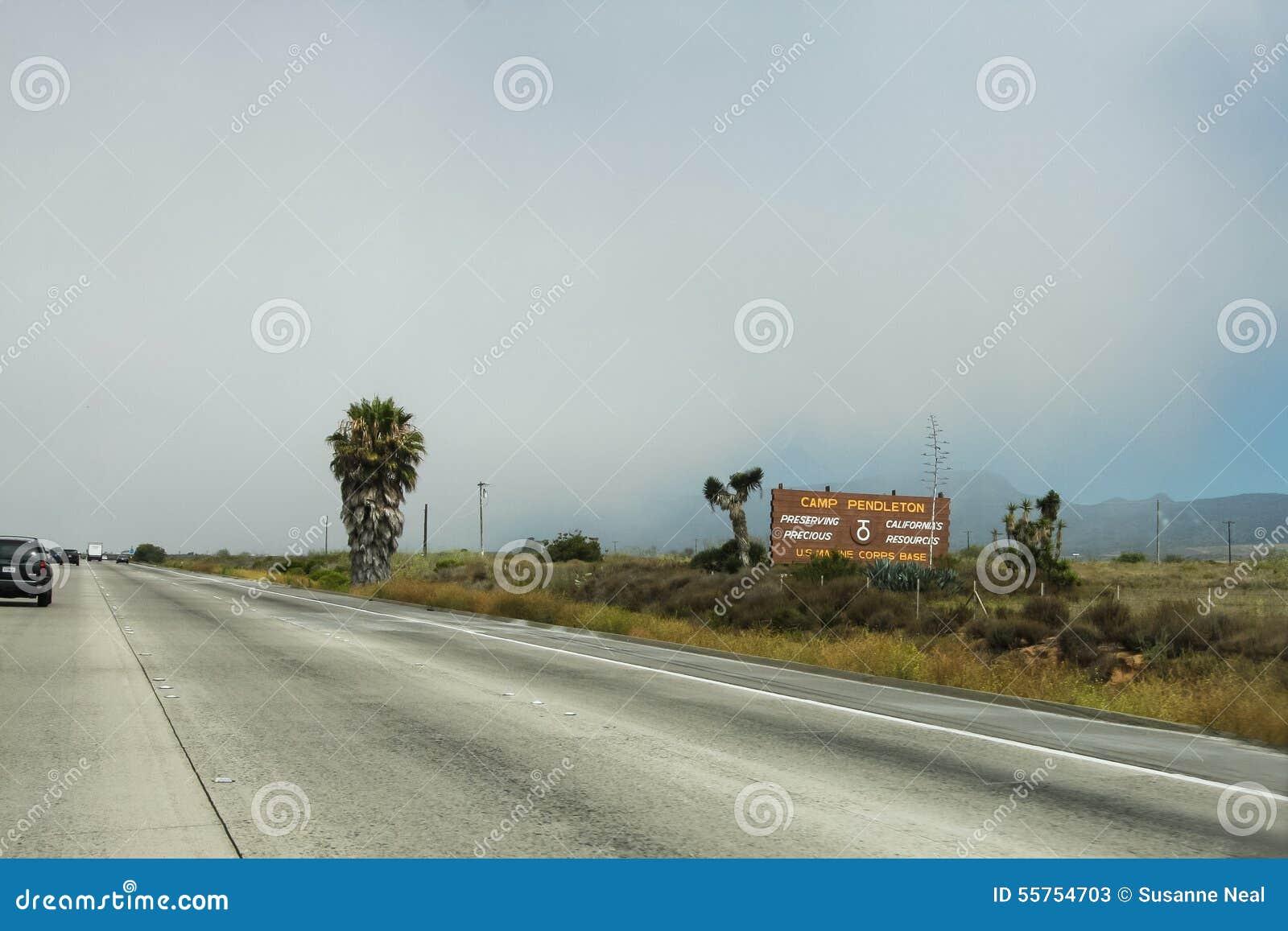 Het teken van kamppendleton in Californië