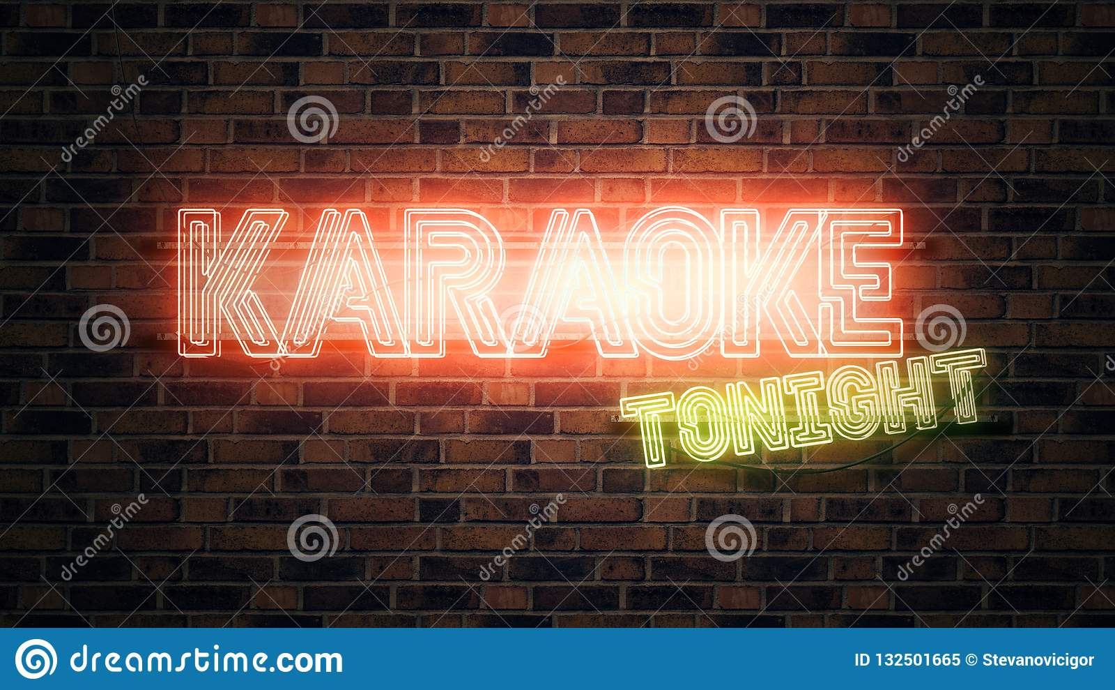 Het teken van het karaoke vanavond neon