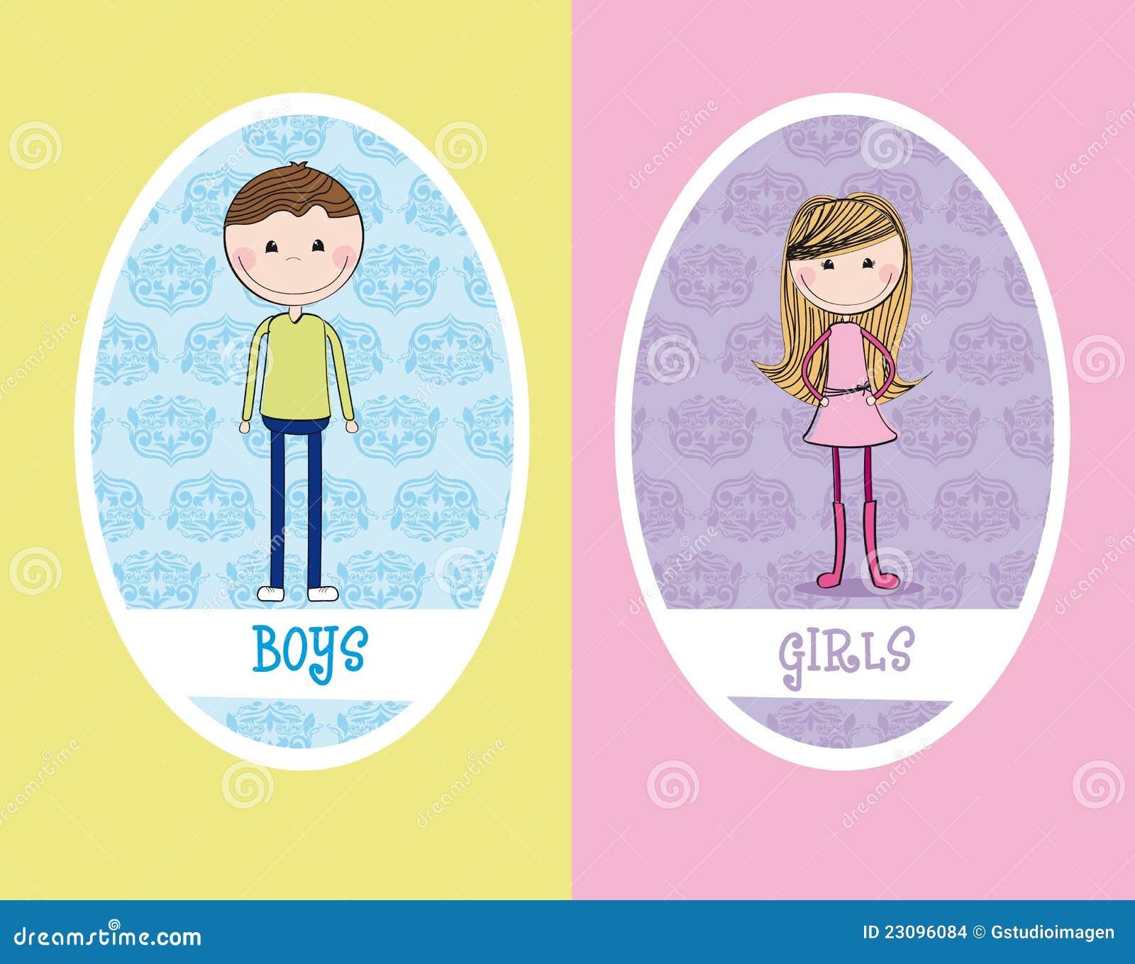 Het teken van meisjes en van jongens stock illustratie afbeelding 23096084 - Set van jongens en meisjes ...