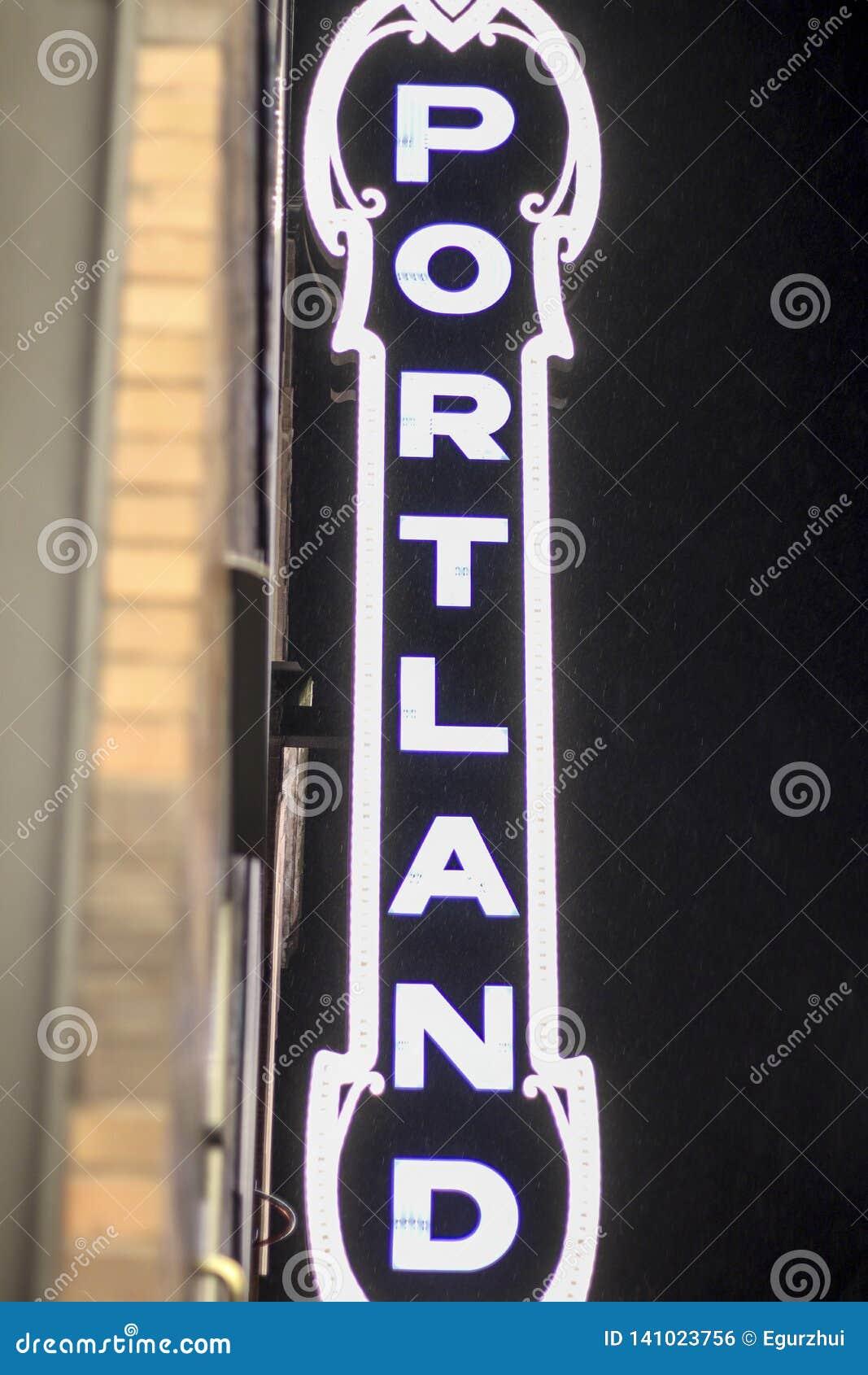 Het teken van Portland in het stadscentrum van de binnenstad