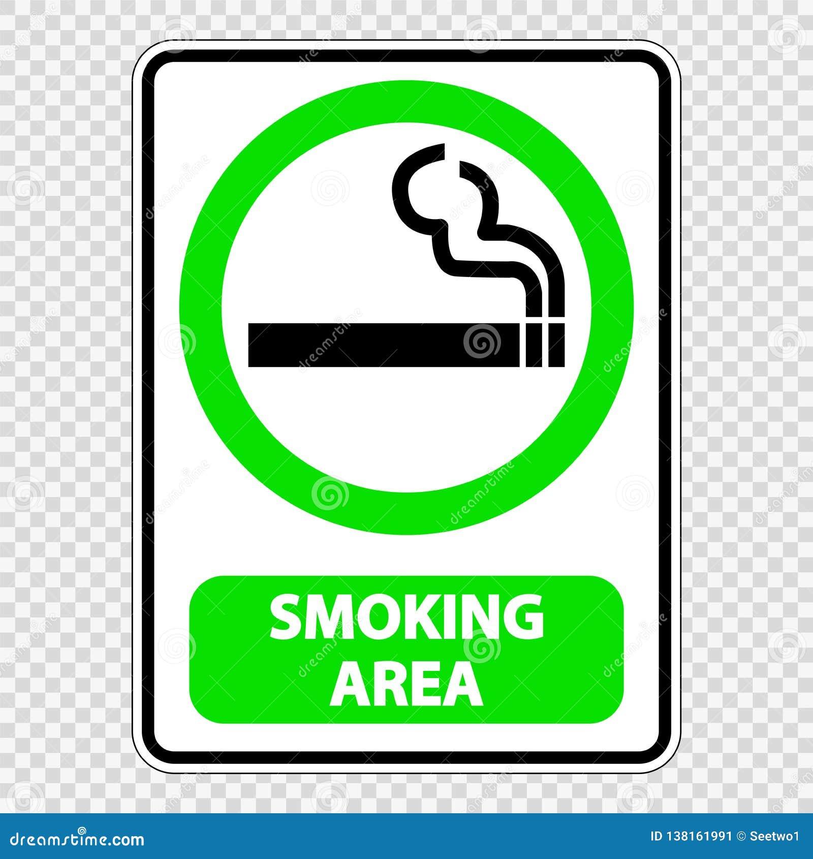 Het tekenetiket van het symbool rokend gebied op transparante achtergrond
