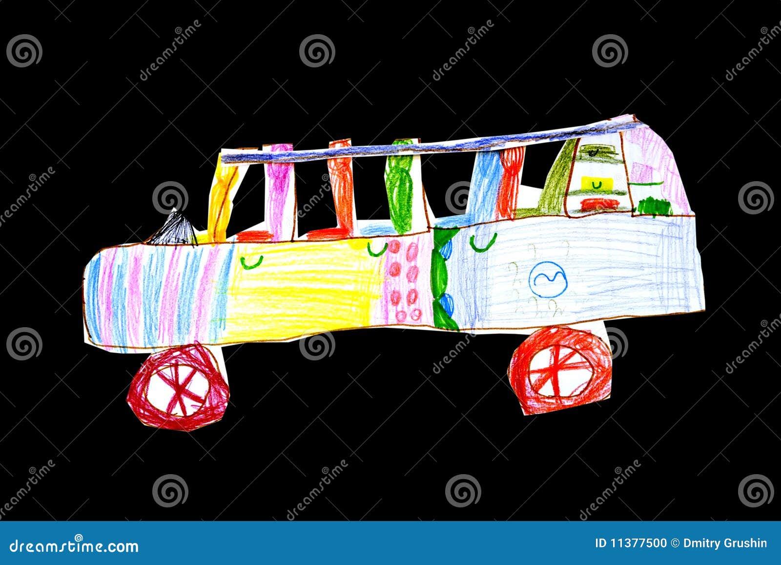 Het tekening-speelgoed van kinderen de auto die van een document wordt ...
