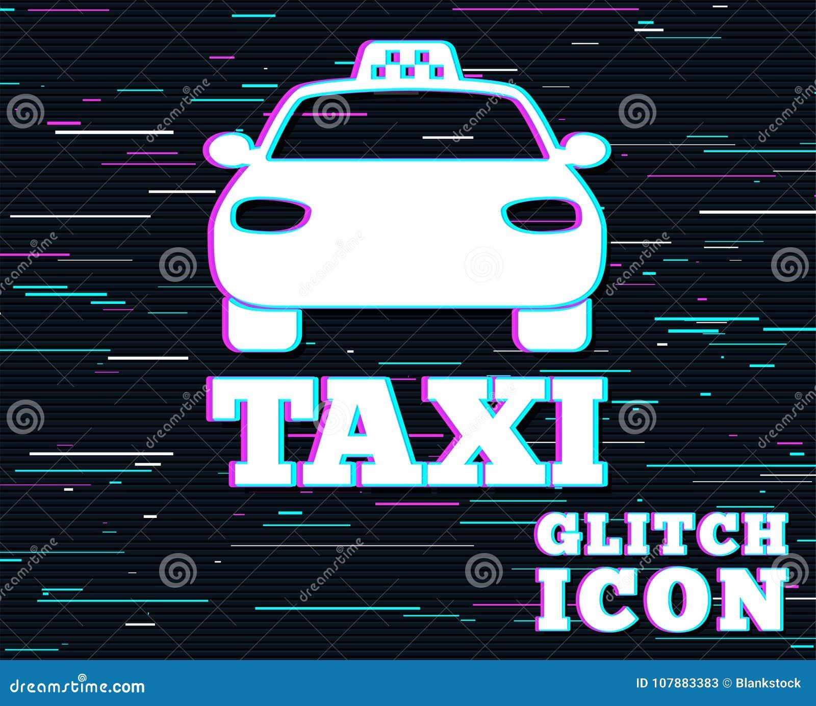 Het tekenpictogram van de taxiauto Openbaar vervoersymbool