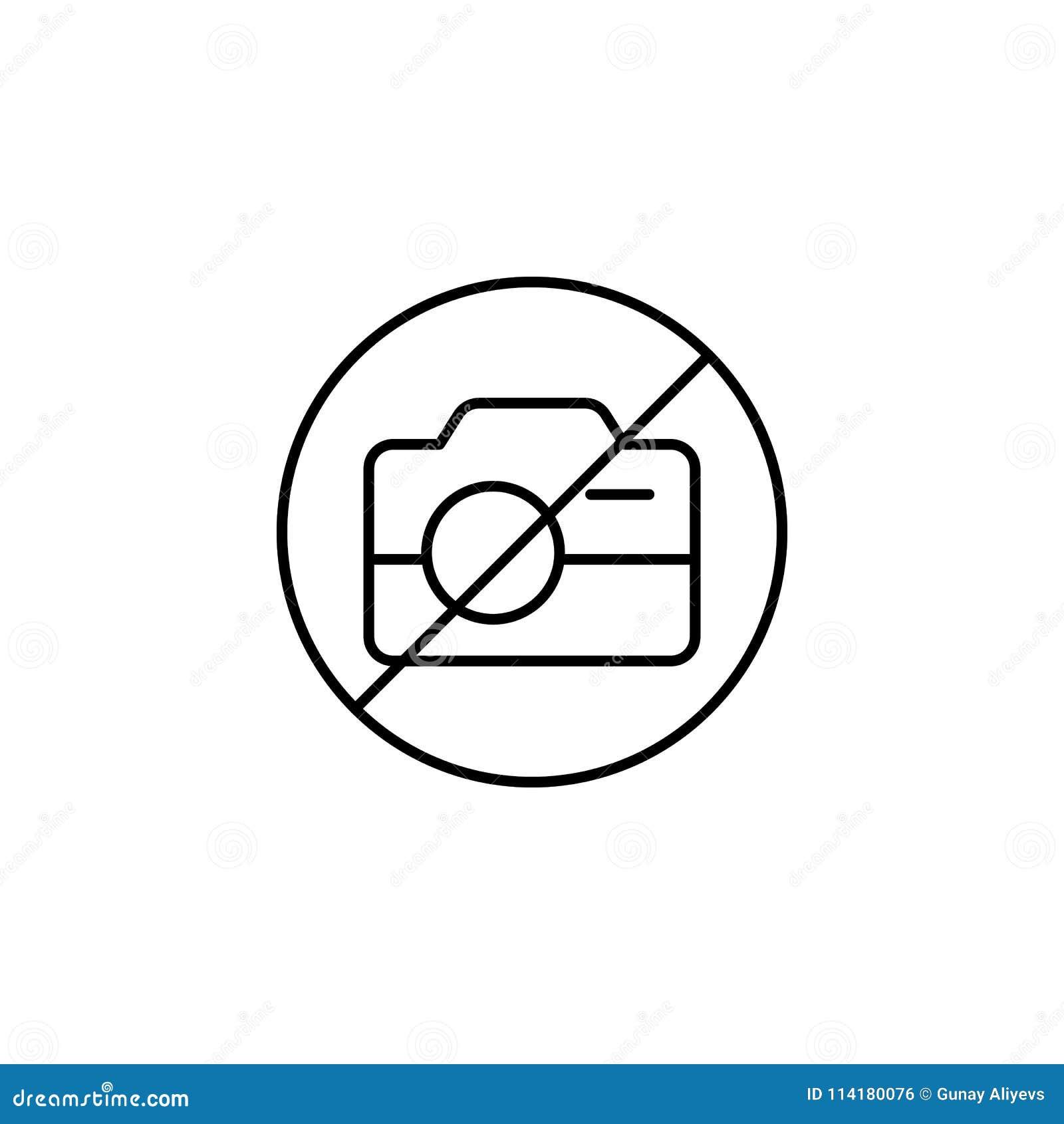 Het tekenpictogram van het fotoverbod Element van eenvoudig pictogram voor websites, Webontwerp, mobiele app, informatiegrafiek D