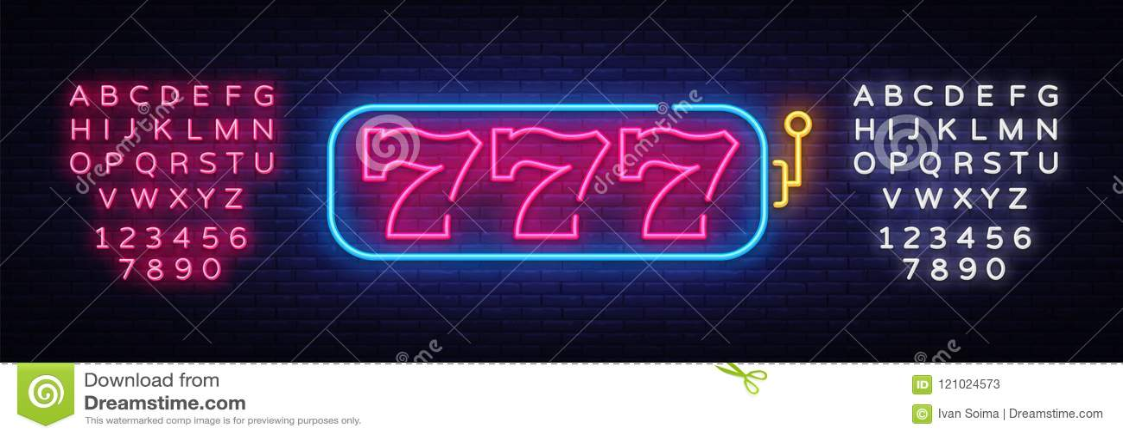 Het tekenvector van het gokautomaatneon 777 het teken van het het malplaatjeneon van het gokautomaatontwerp, lichte banner, neonu