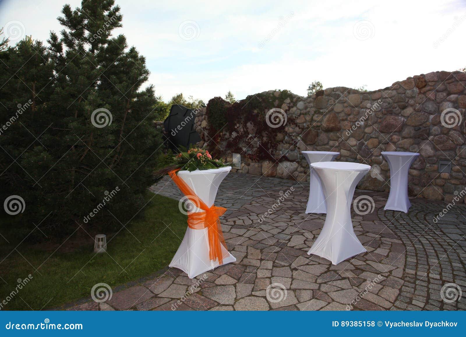 Het terras van de betonmolen van de binnenplaats met vijver in