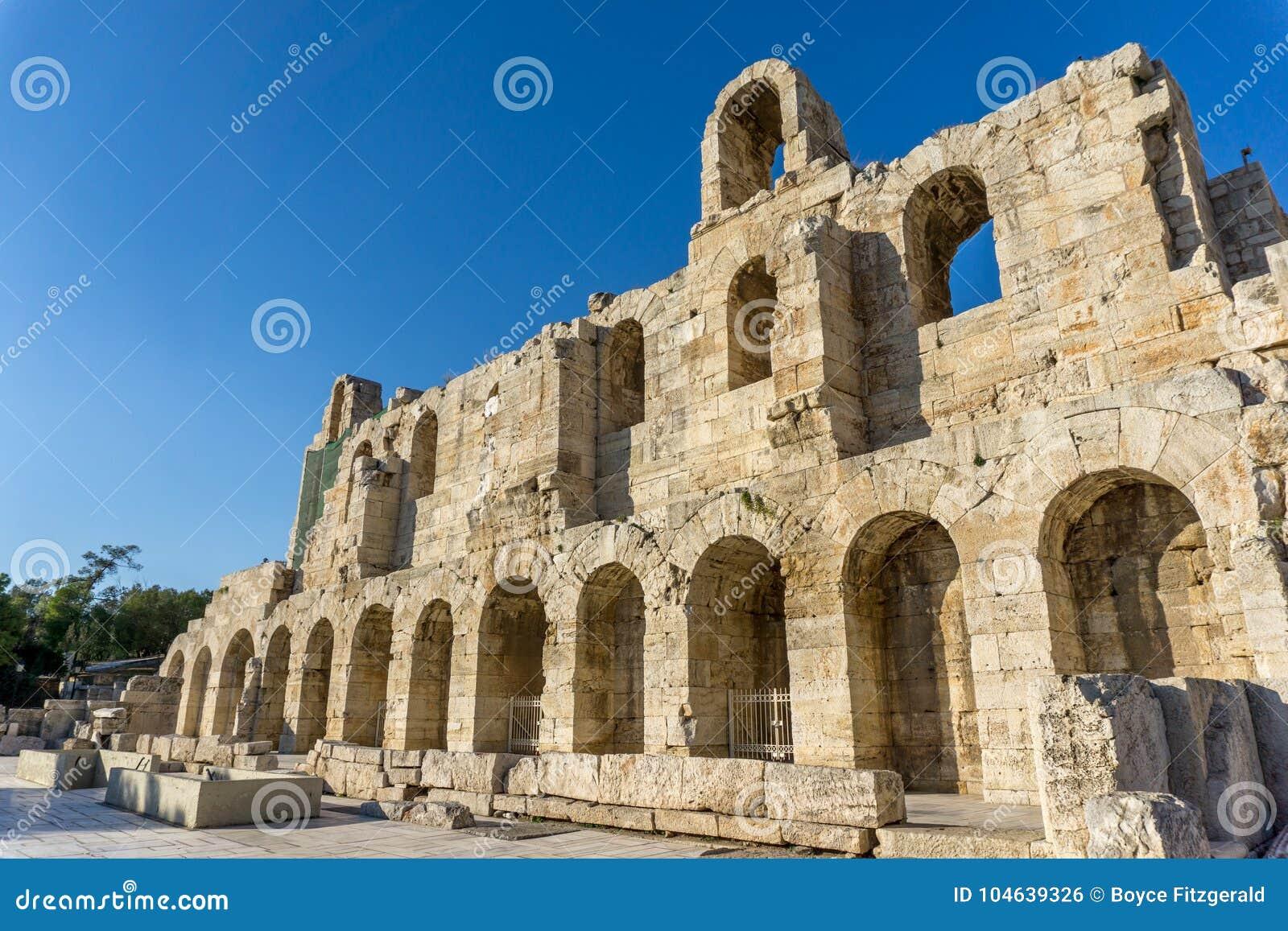 Download Het Theater Van Herod Atticus, In Athene, De Hoofdstad Van Griekenland Stock Foto - Afbeelding bestaande uit archeologie, klassiek: 104639326