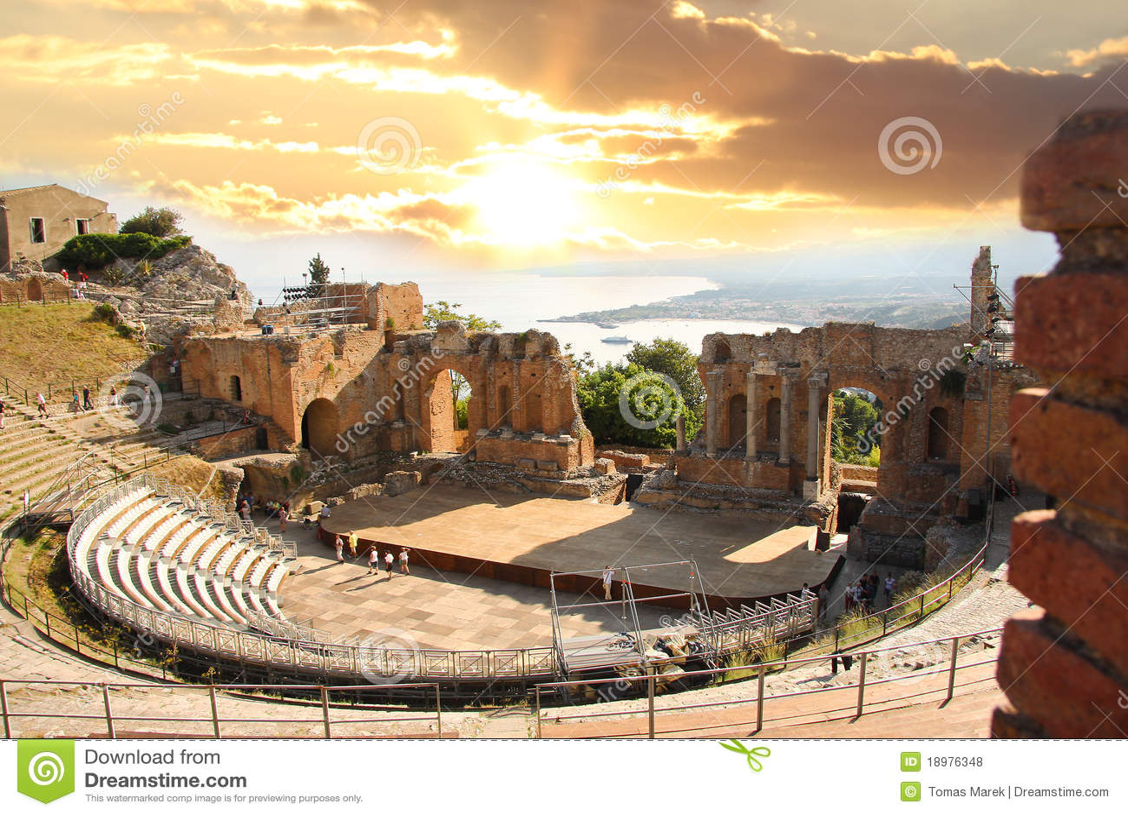Het theater van Taormina, Sicilië, Italië