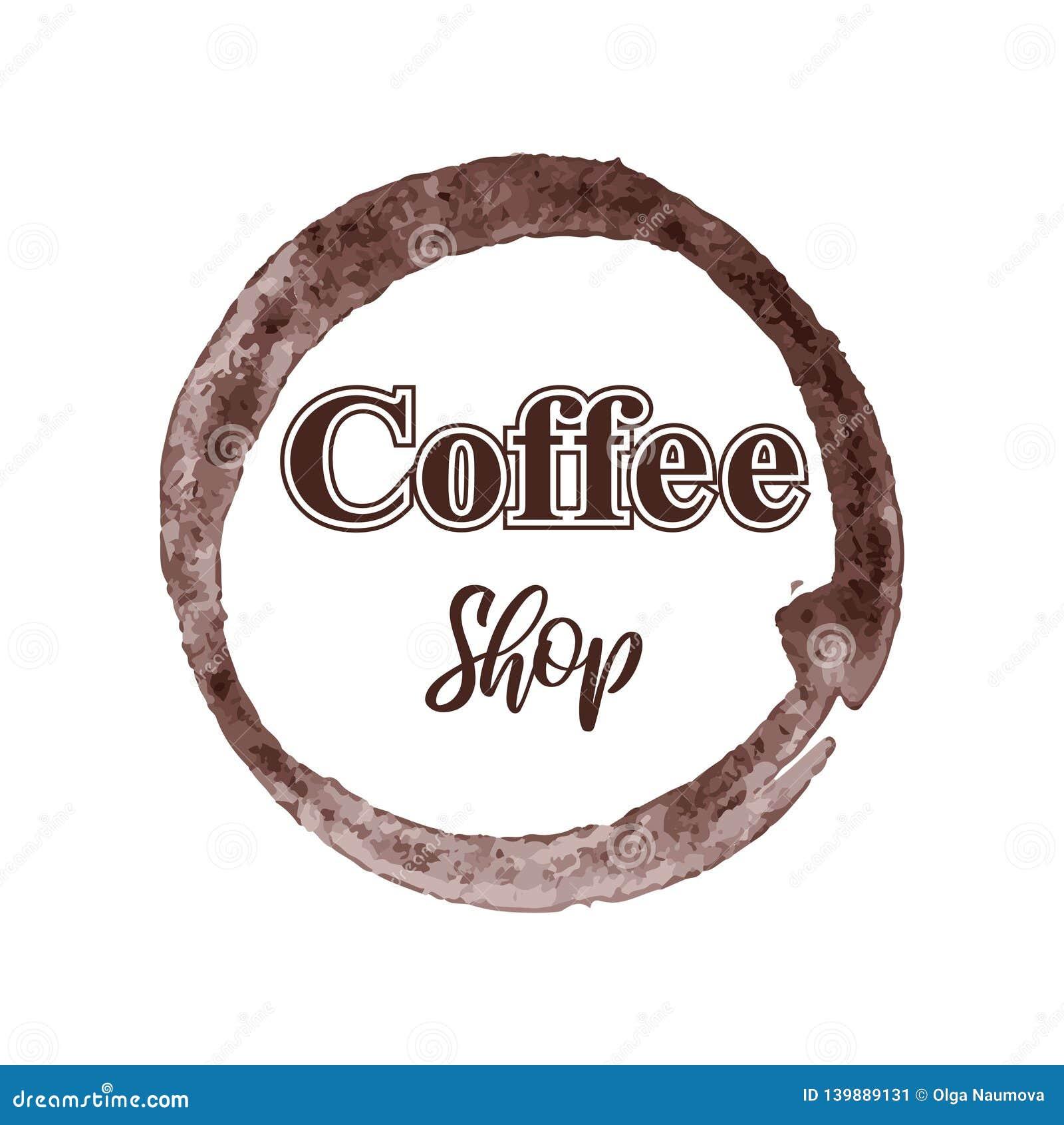 Het thematische die embleem van de koffiewinkel op witte achtergrond wordt geïsoleerd