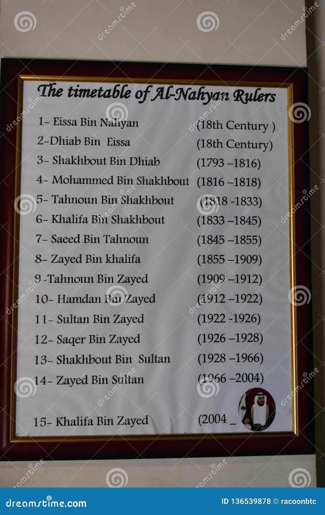 Het tijdschema van Al Nahyan-heersers Genomen in de Verenigde Arabische Emiraten dichtbij Abu Dhabi