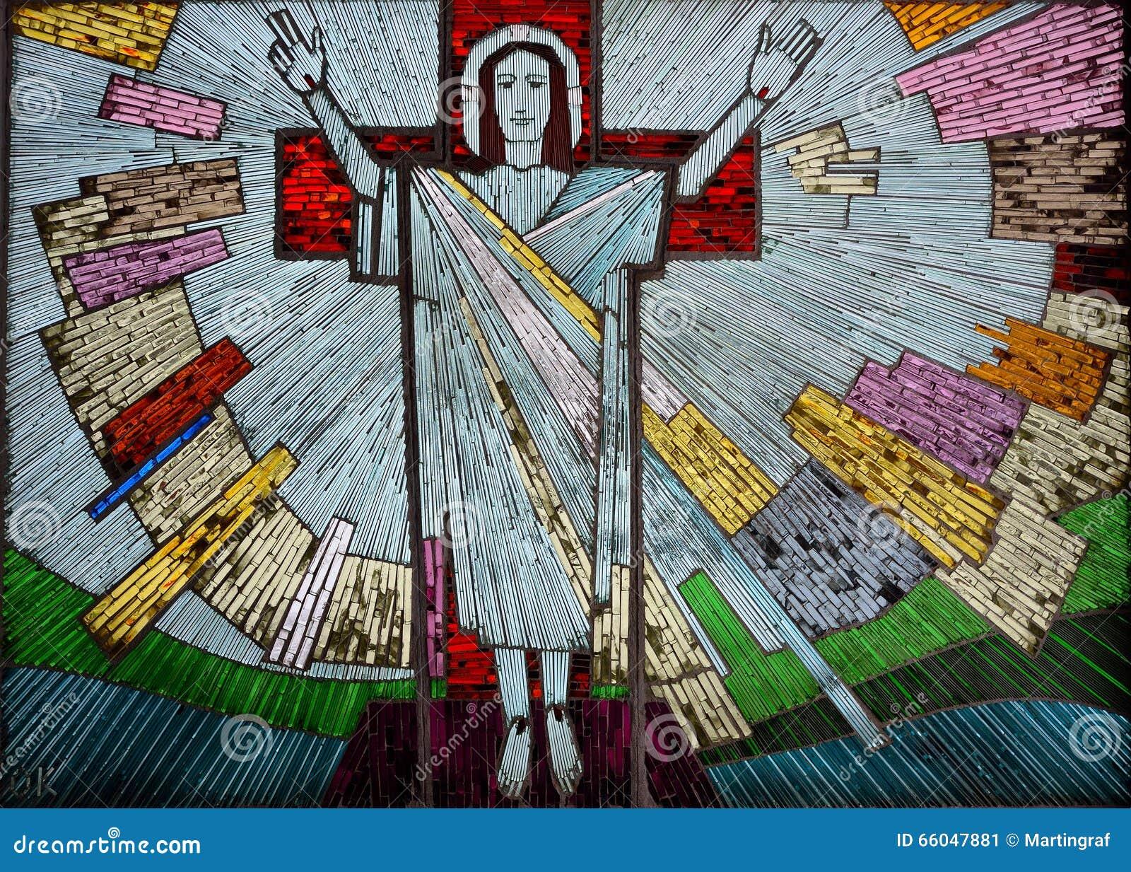 Het toegenomen kleurrijke kunstwerk van Jesus in glas