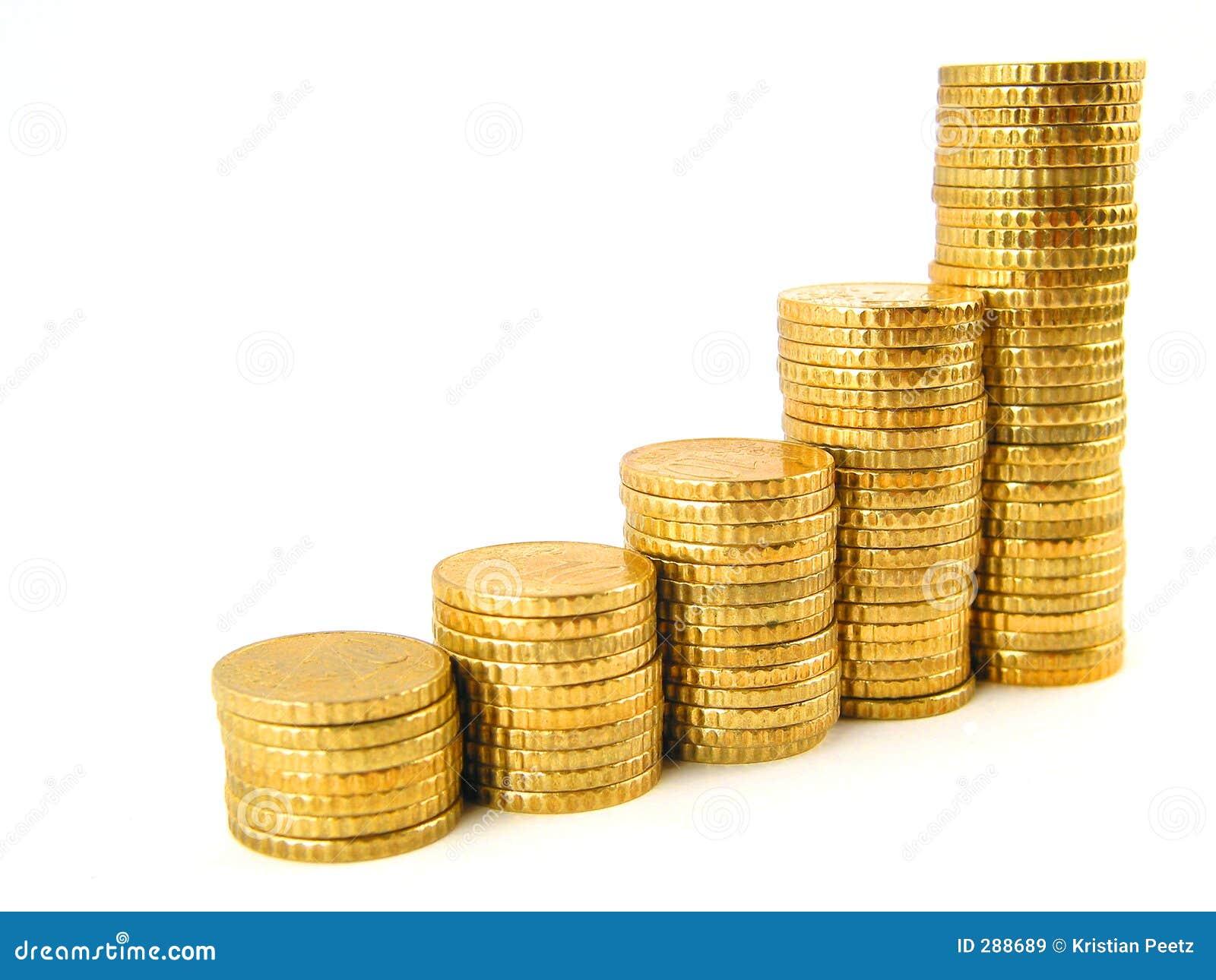 Het toenemen muntstukken