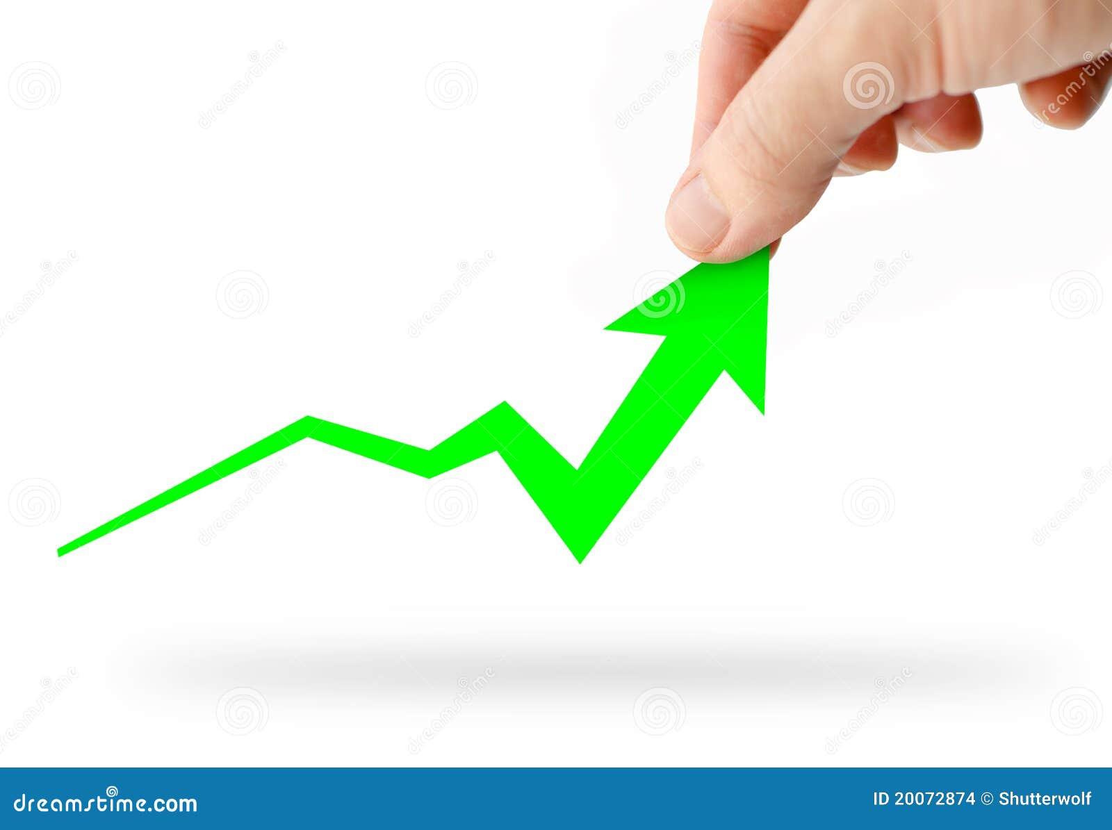 Het toenemen van de hand groene bedrijfsgrafiek