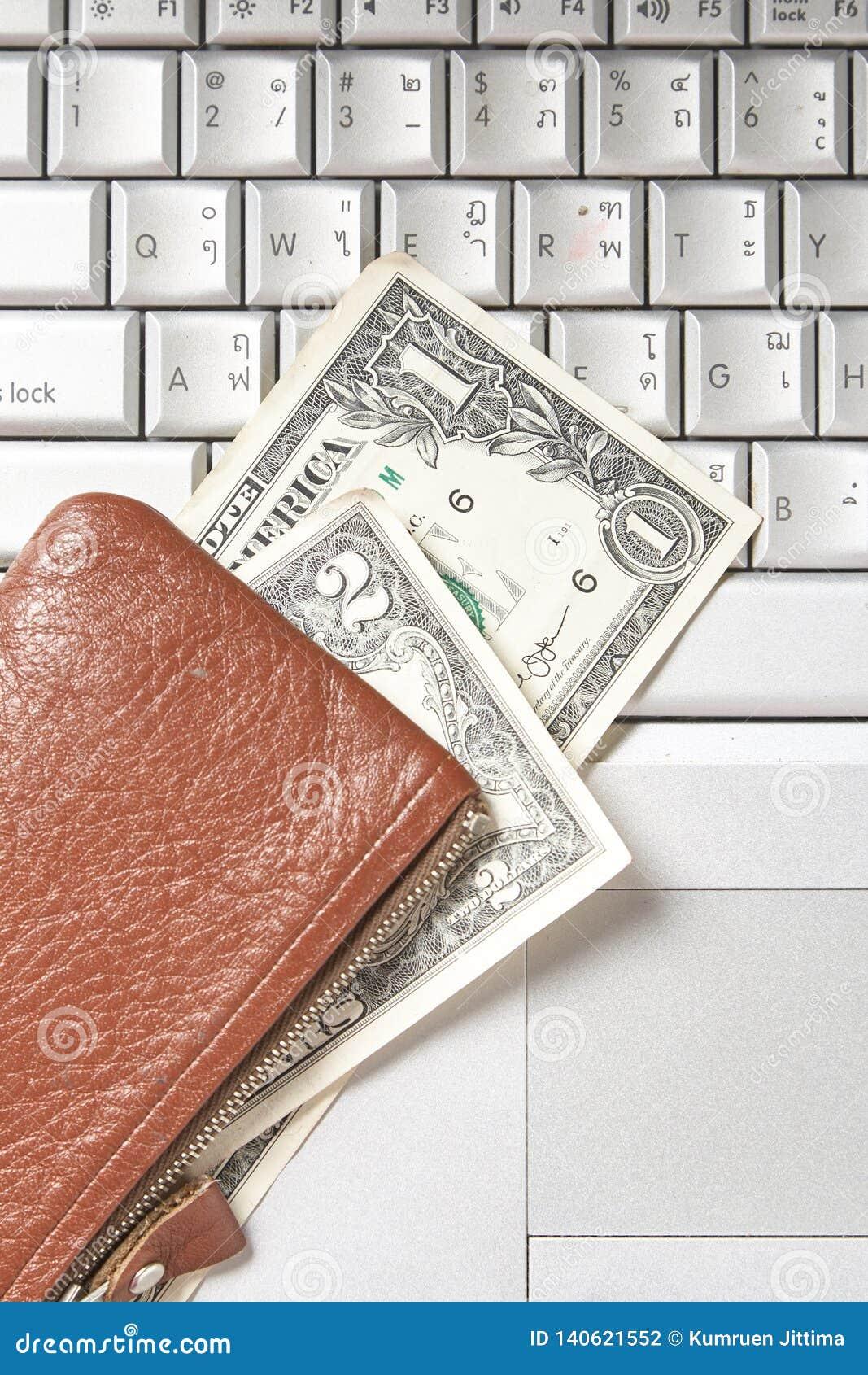 Het toetsenbord van de de rekeningencomputer van het zakgeld