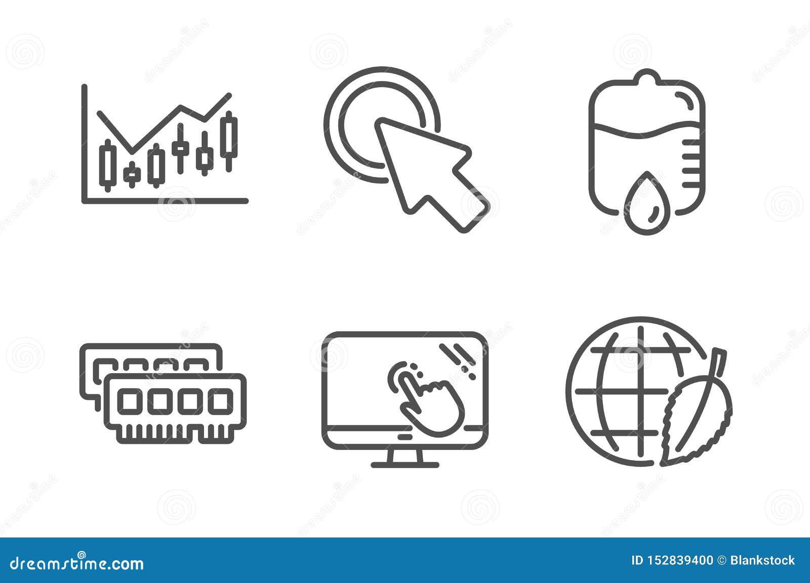 Het touche screen, klikt en laat vallen hier tegen geplaatste pictogrammen Ram, de Financi?le diagram en tekens van de Milieudag