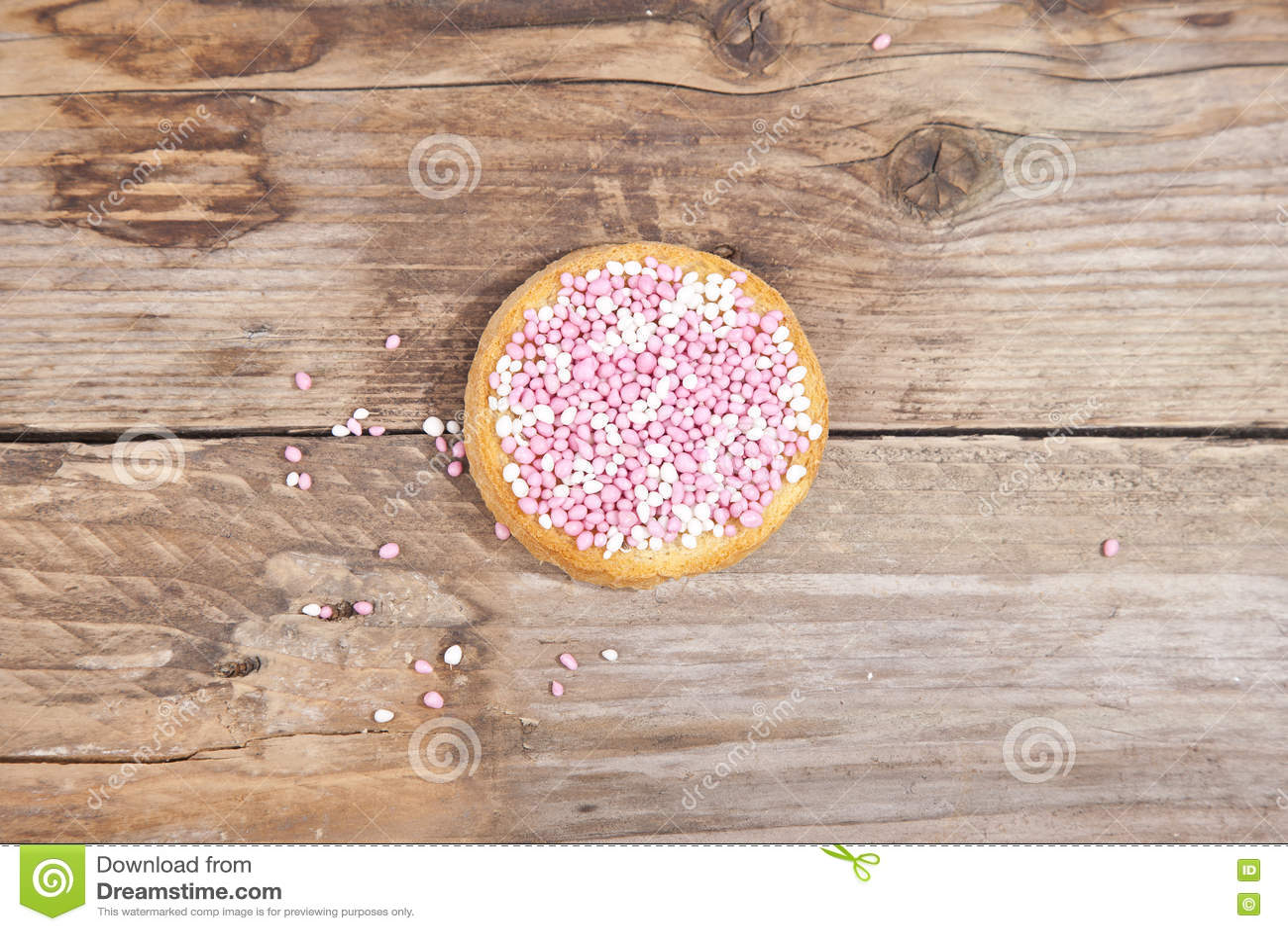 Het Traditionele Nederlandse Koekje Van De Geboorteviering Met Roze