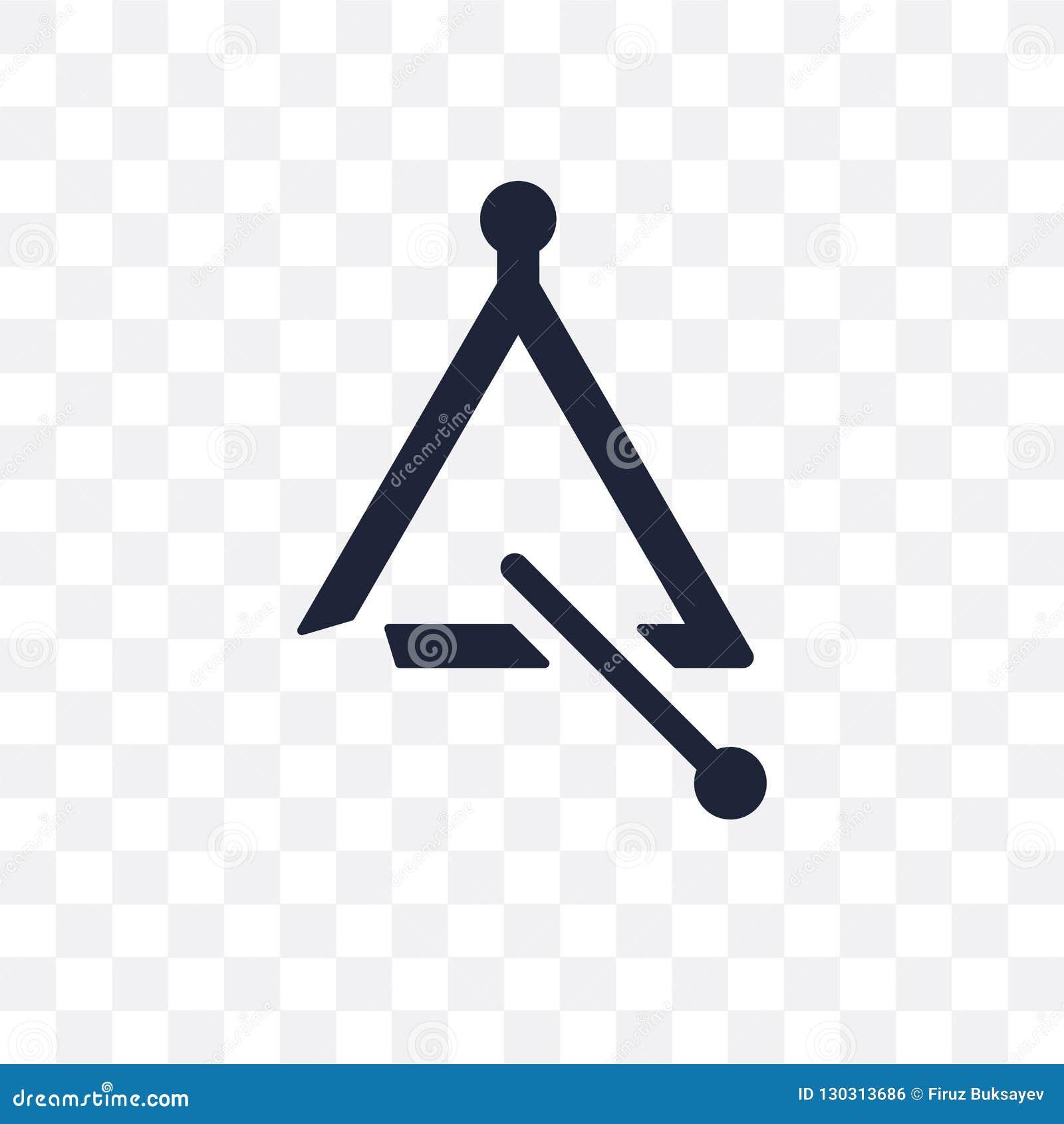 Het transparante pictogram van de muziekdriehoek het symboolontwerp Fr van de muziekdriehoek