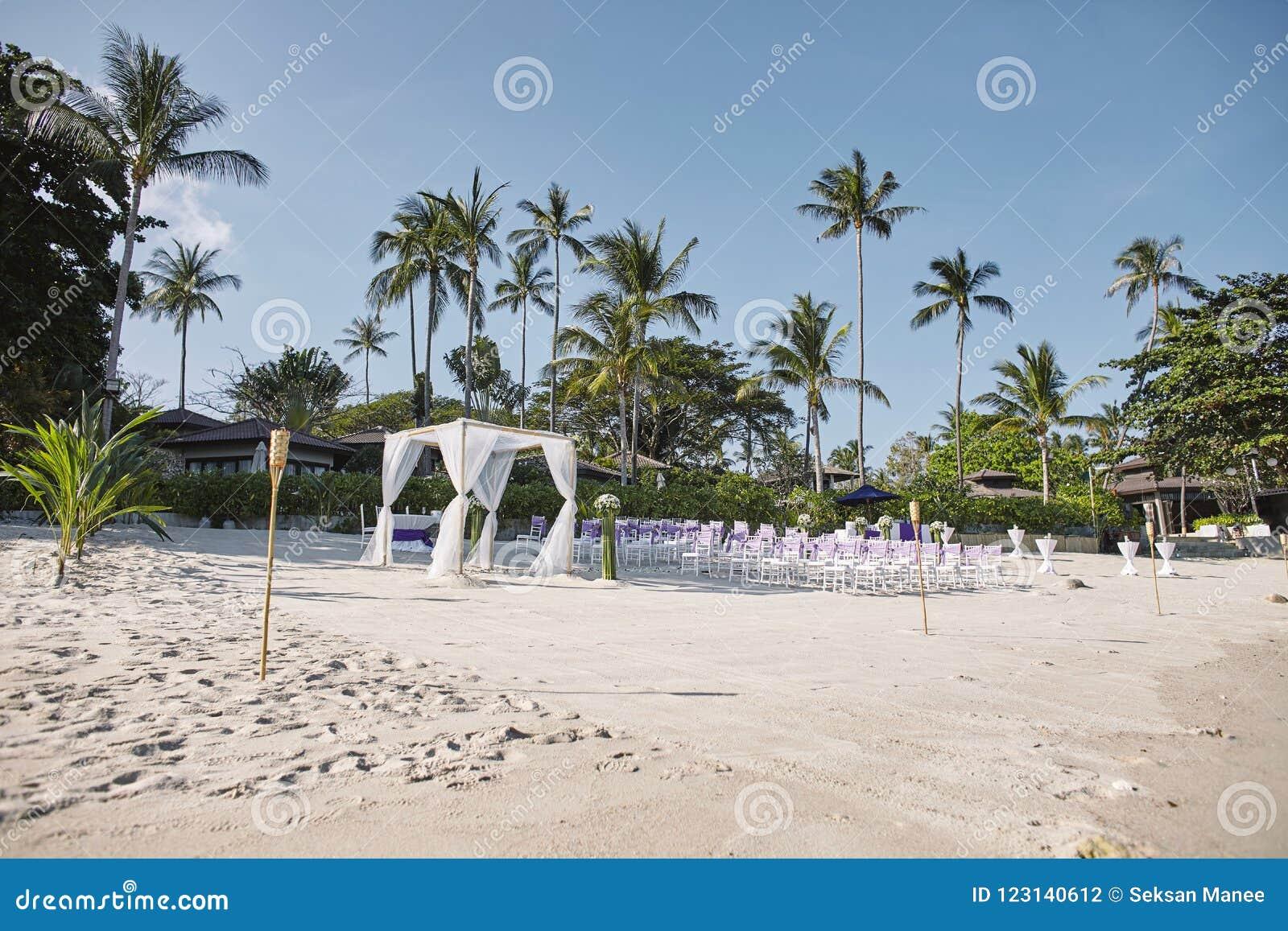 Het trefpuntregeling van het strandhuwelijk bij kust, Boog, Altaar met minimale bloemendecoratie, palm en kokosnotenachtergrond