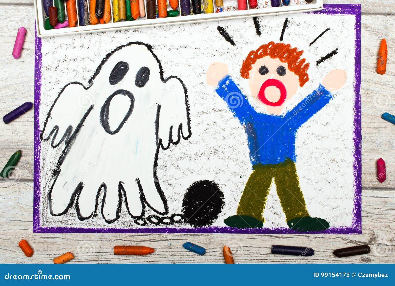 Het trekken: Eng spook met kettingen en doen schrikken weinig jongen