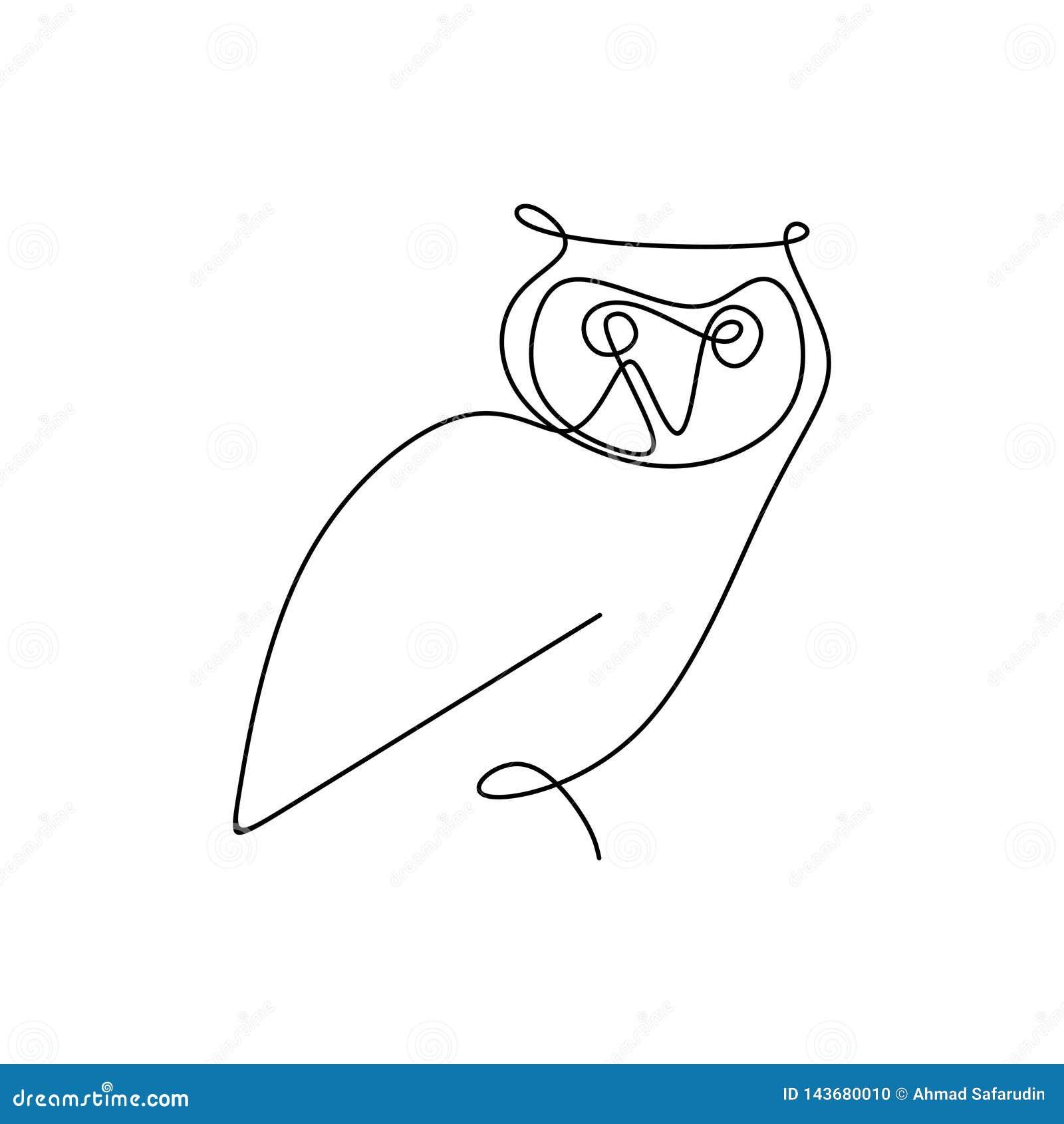 Het trekken van een ononderbroken lijn van uilen met een eenvoudig ontwerp