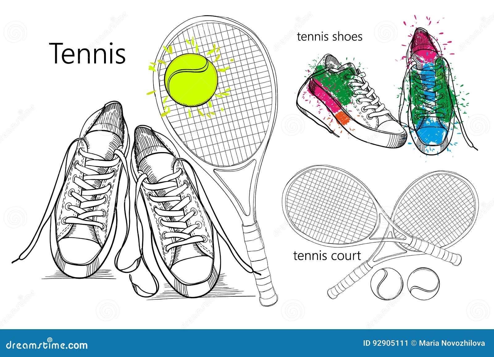 Het Trekken Van Reeks Objecten Tennisschoenen Met