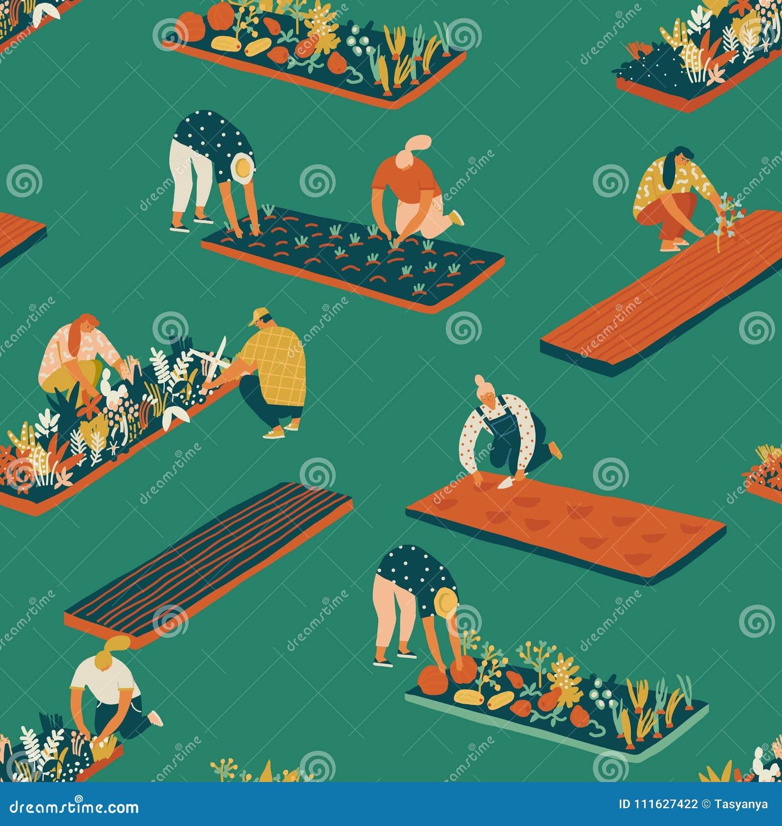 Het tuinieren en de landbouw naadloos patroon