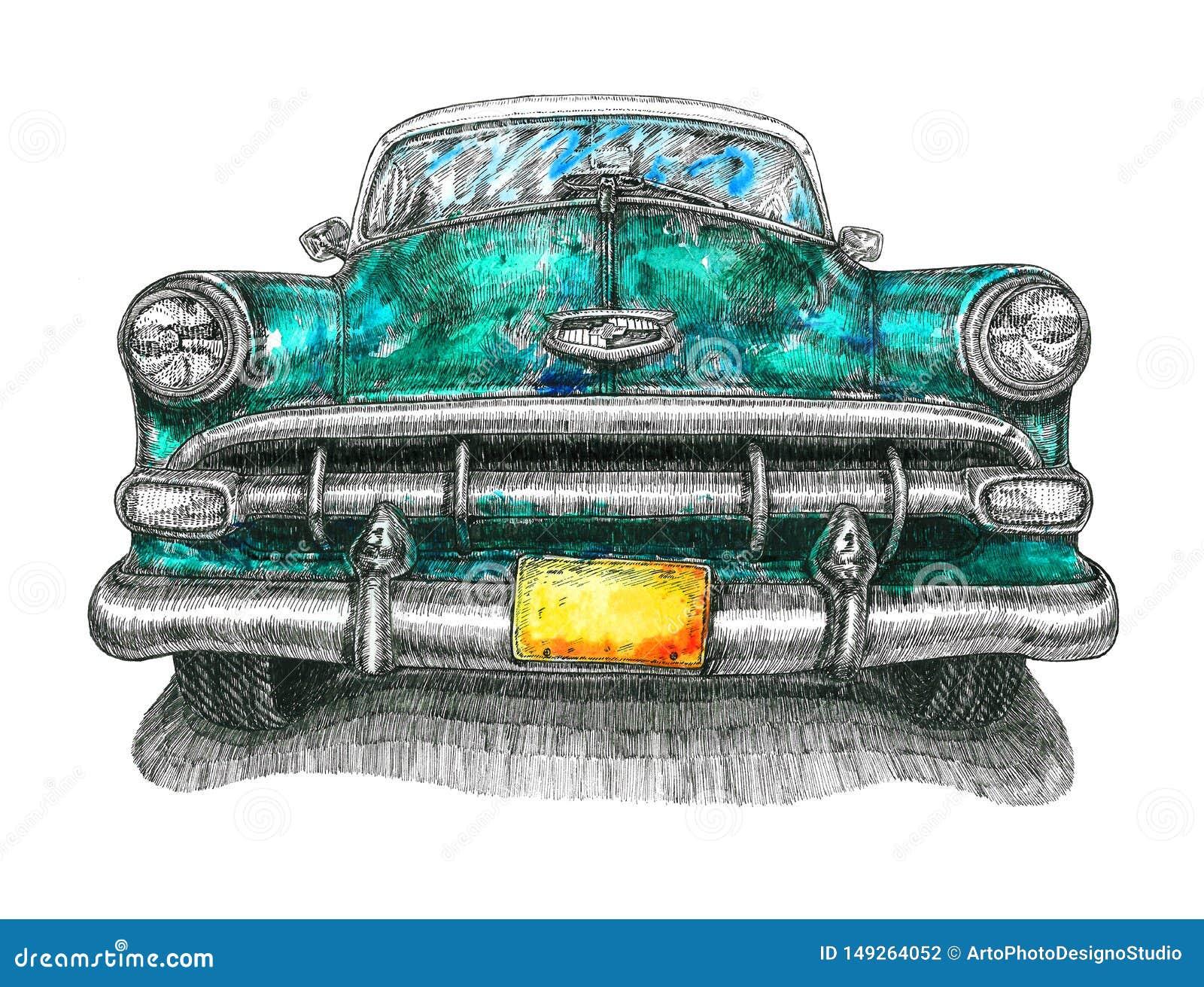 Het turkooise vooraanzicht van Chevrolet Bel Air, gemengde media, waterverfillustratie met inkttekening, die op wit wordt ge?sole
