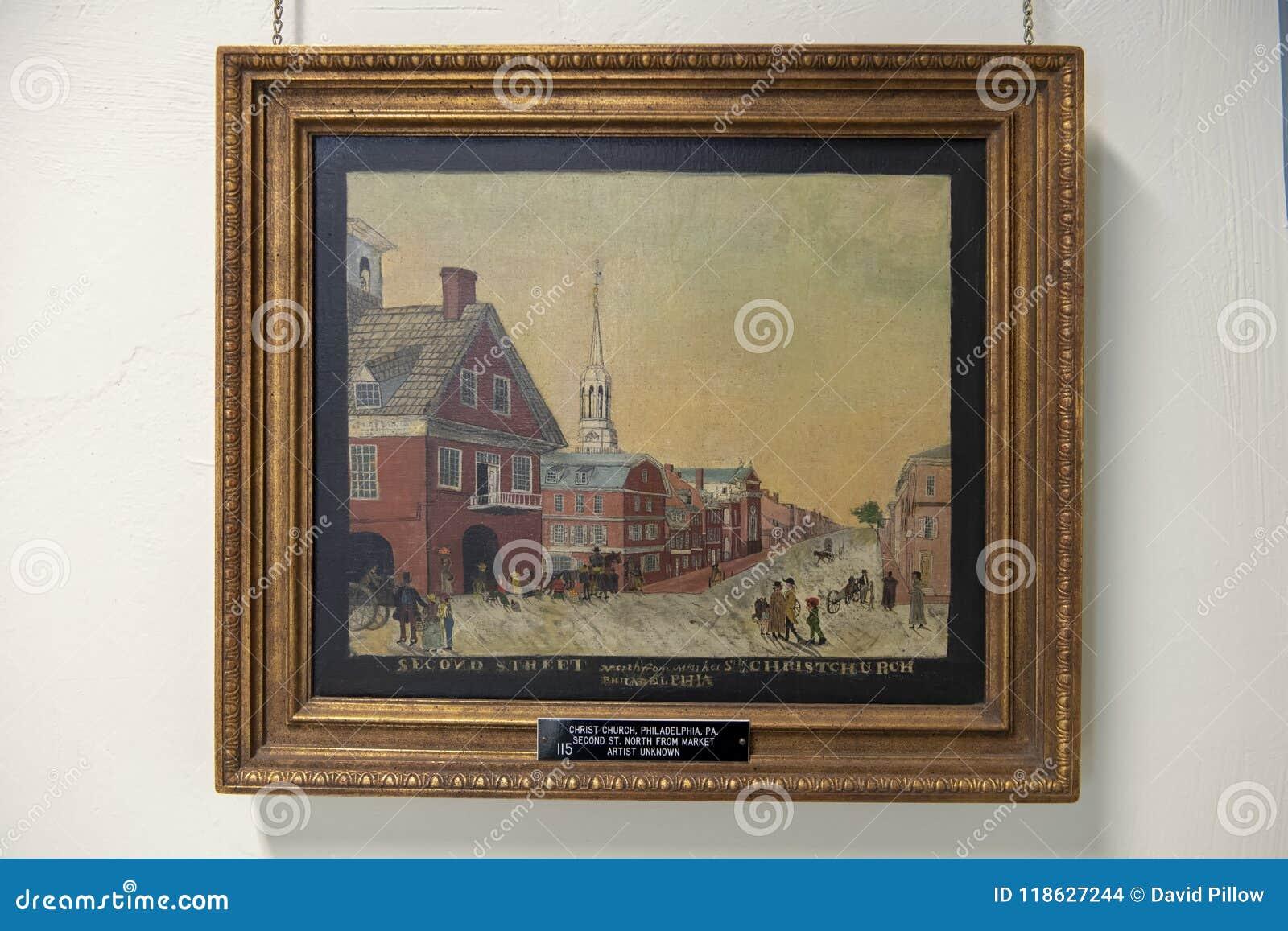 Het tweede de Kerk van Straatchristus schilderen door onbekende kunstenaar, de Presbyteriaanse Historische Maatschappij, Philadel