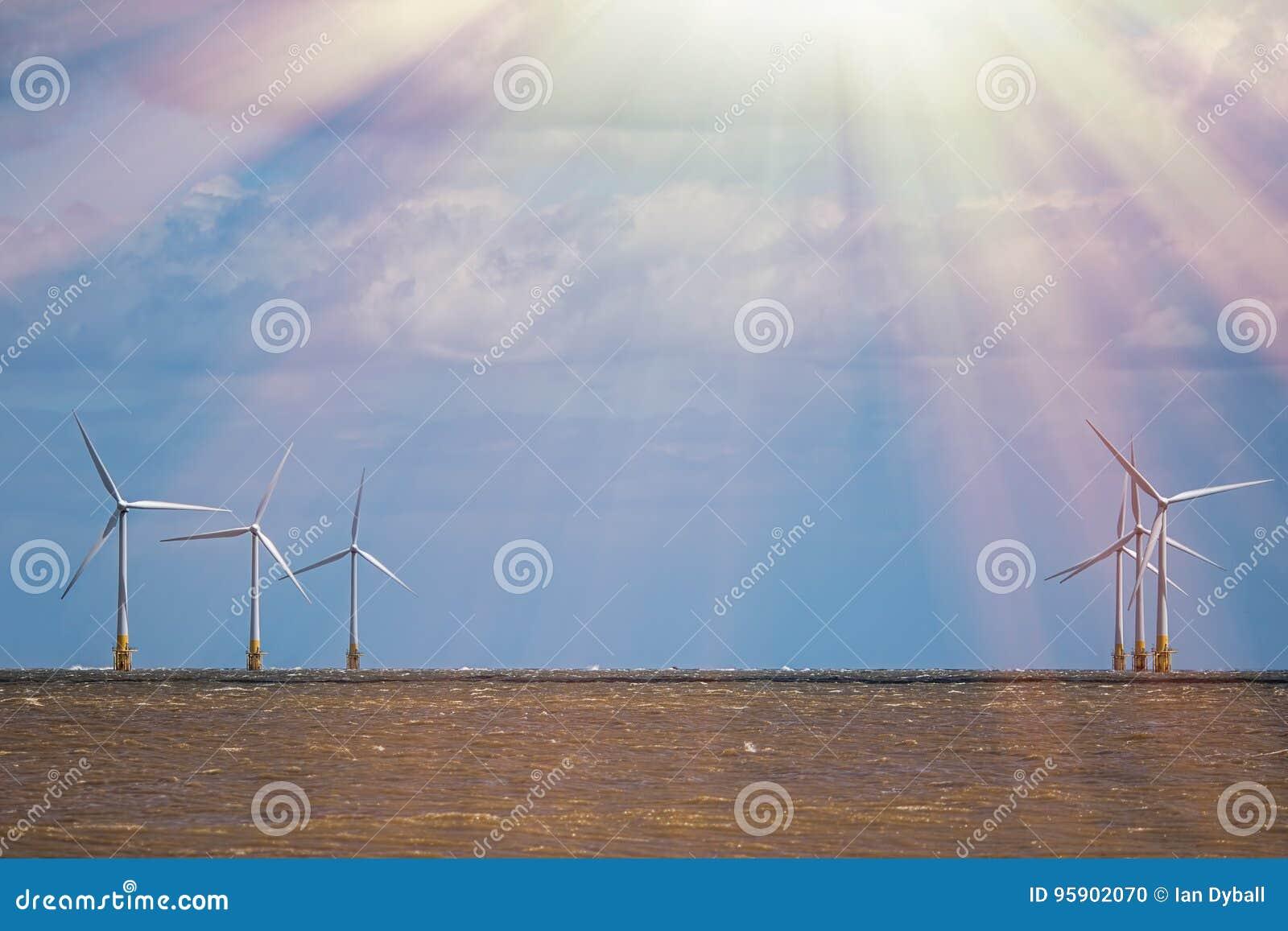 Het uitrusten van de elementen Natuurlijke duurzame middelen Overweldigende rooskleurige toekomst van duurzame energie
