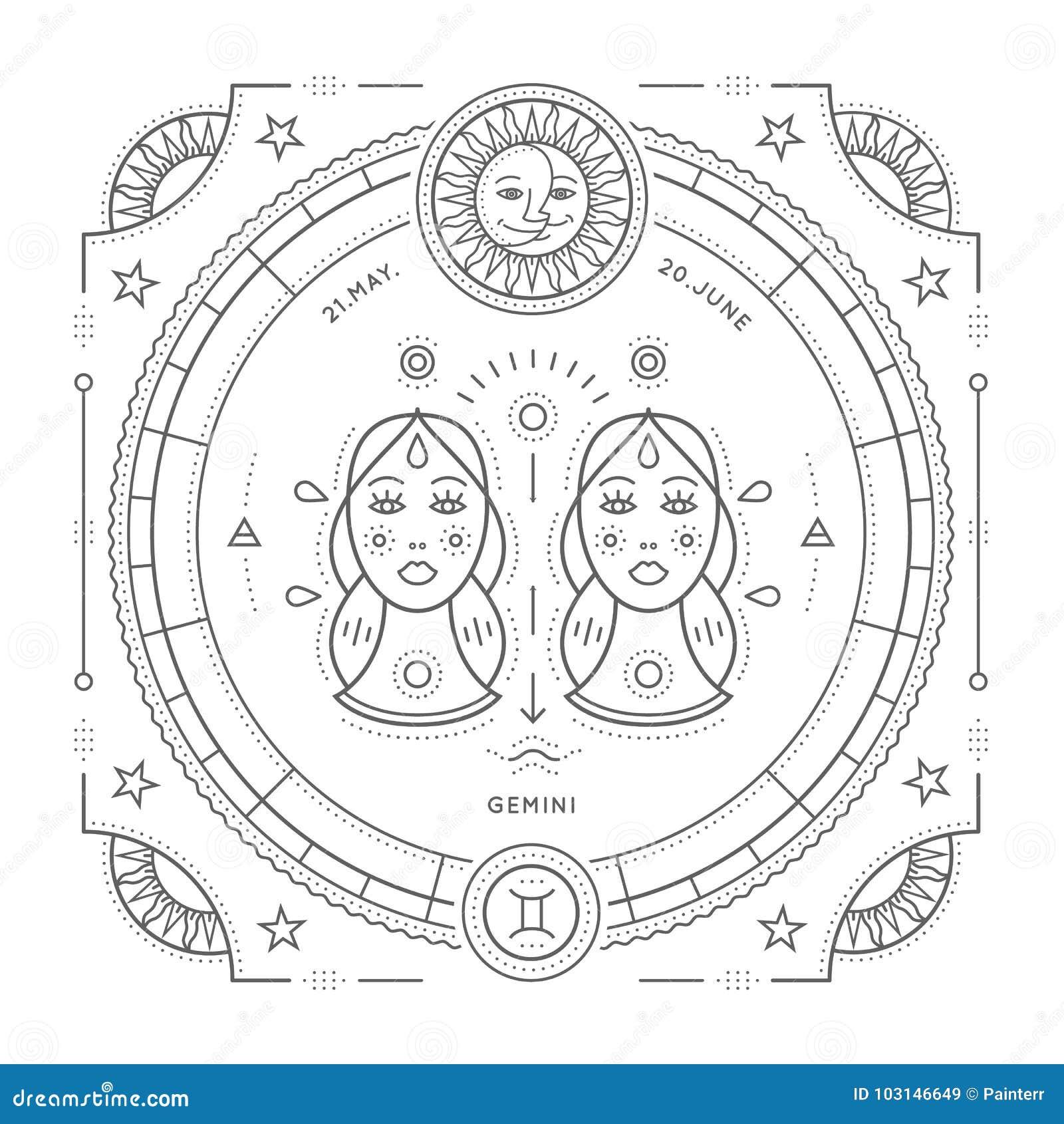 Het uitstekende dunne etiket van het de dierenriemteken van lijntweeling Retro vector astrologisch symbool, mysticus, heilig meet