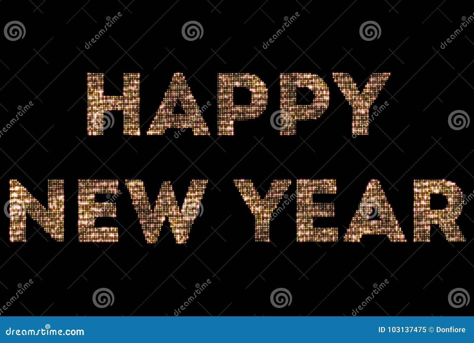 Het uitstekende gele goud schittert sparkly lichten en het gloeien effect simulerend leds gelukkig nieuw jaar 2018, 2019, 2020, 2
