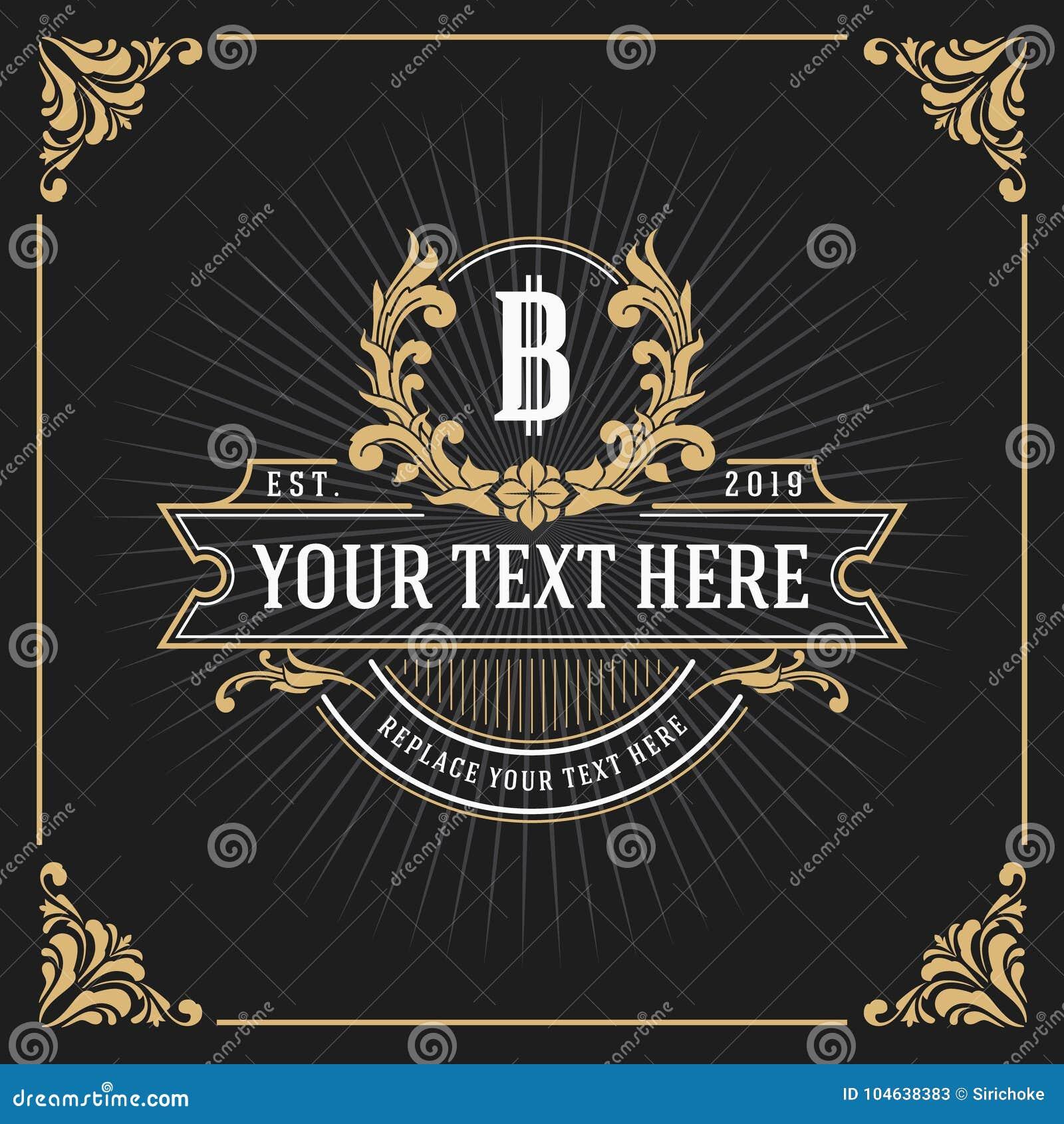 Download Het Uitstekende Ontwerp Van Het De Bannermalplaatje Van Het Luxemonogram Vector Illustratie - Illustratie bestaande uit logotype, embleem: 104638383