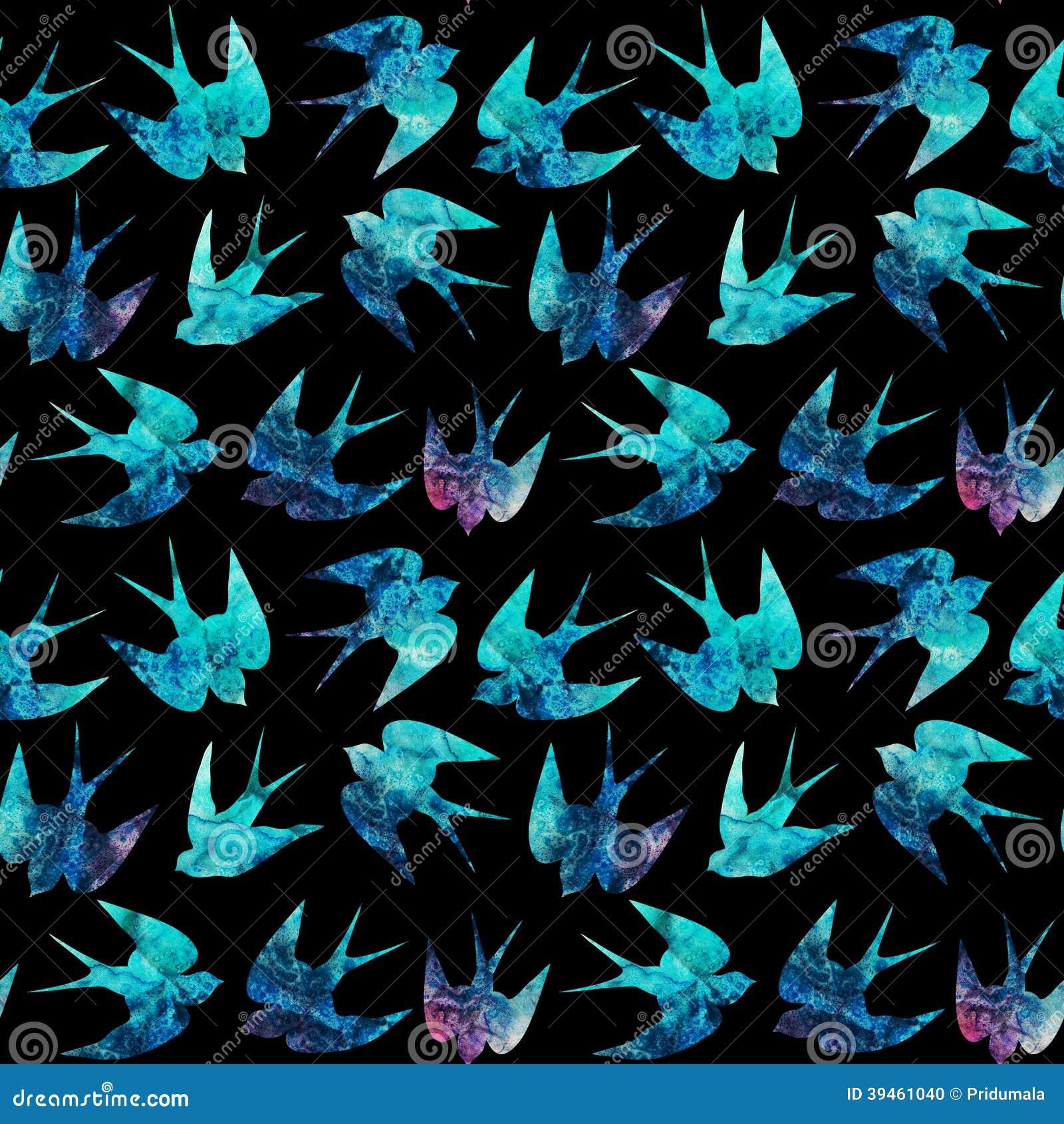 Het uitstekende patroon met weinig slikt, naadloos patroon met vogels, waterverfhand geschilderde achtergrond, waterverfvogel, naa