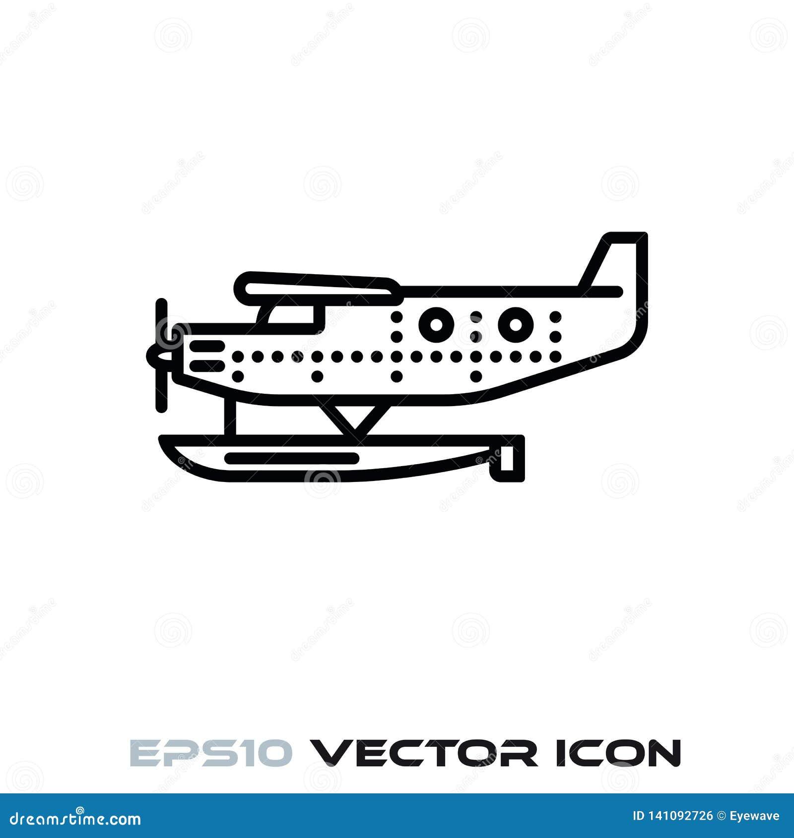 Het uitstekende pictogram van de watervliegtuig vectorlijn