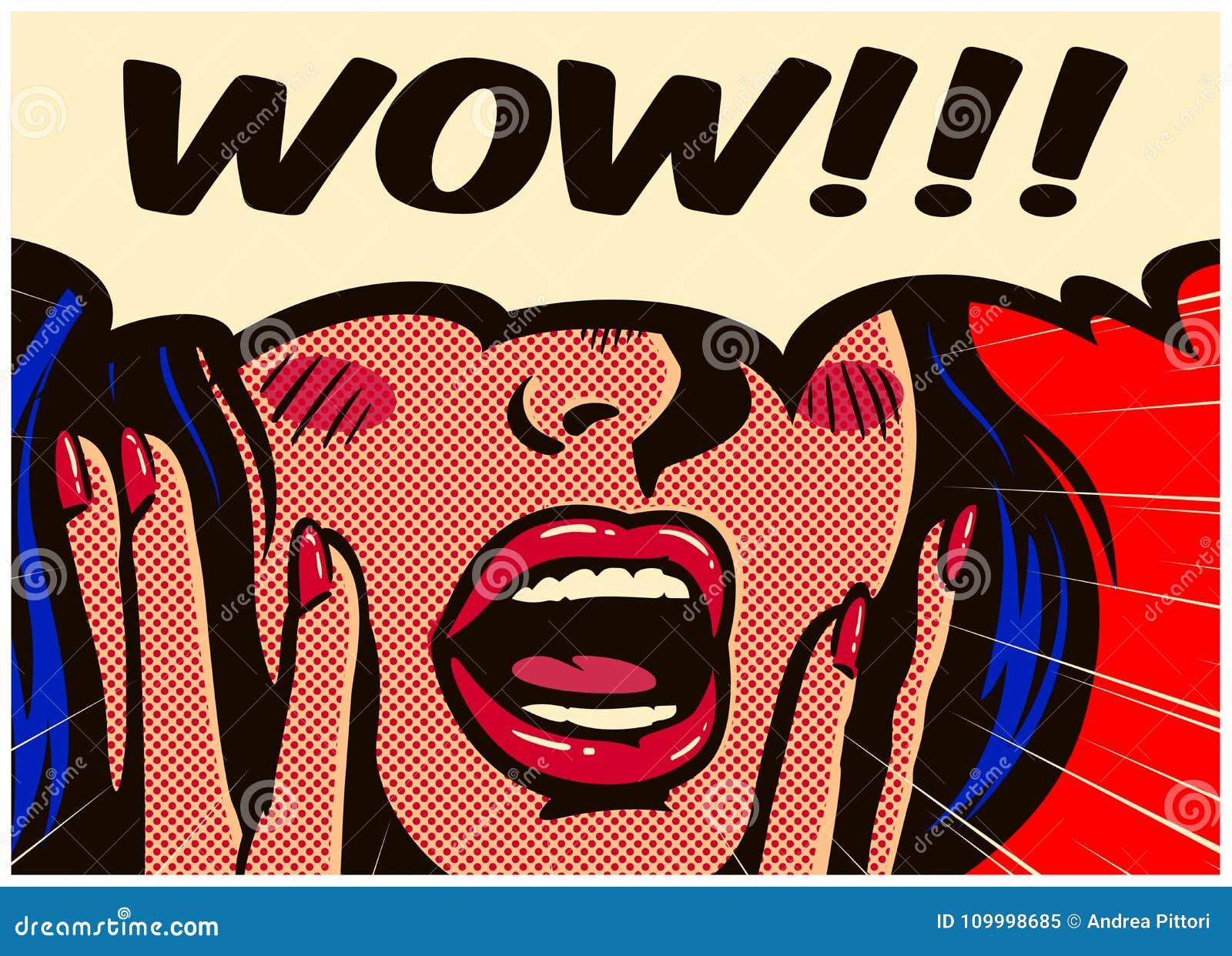 Het uitstekende pop-art grappige boek verraste en wekte vrouw op die wauw met open mond vectorillustratie zeggen