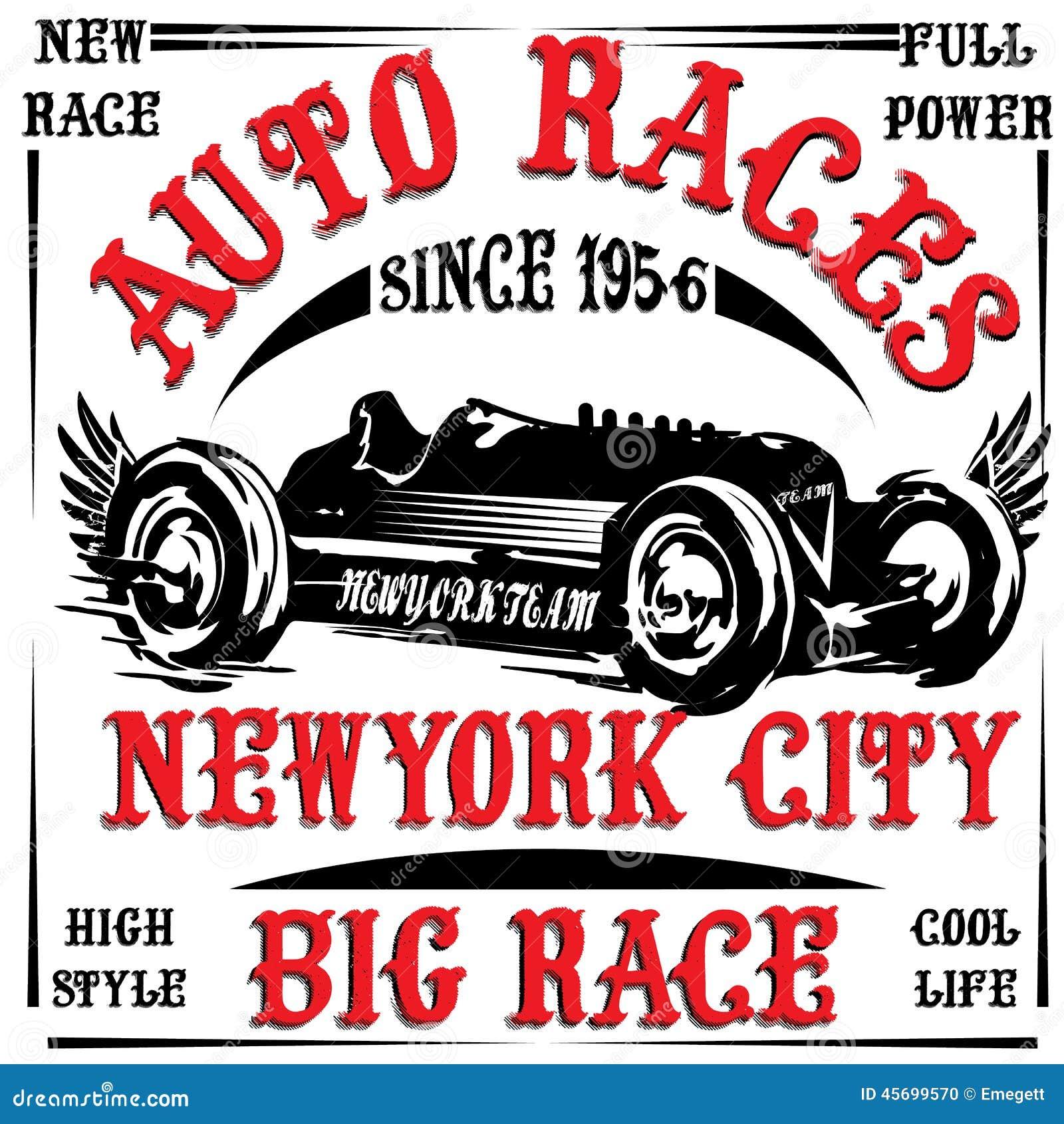 Het uitstekende van de de mensent-shirt van de raceautodruk vector grafische ontwerp