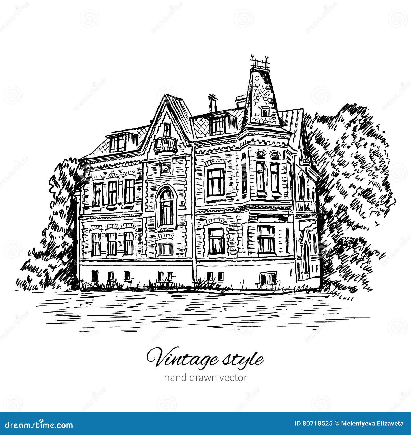 Het uitstekende vector oude Europese huis van de schetstegel, herenhuis, Historische de bouw schetsmatige geïsoleerde lijnkunst,