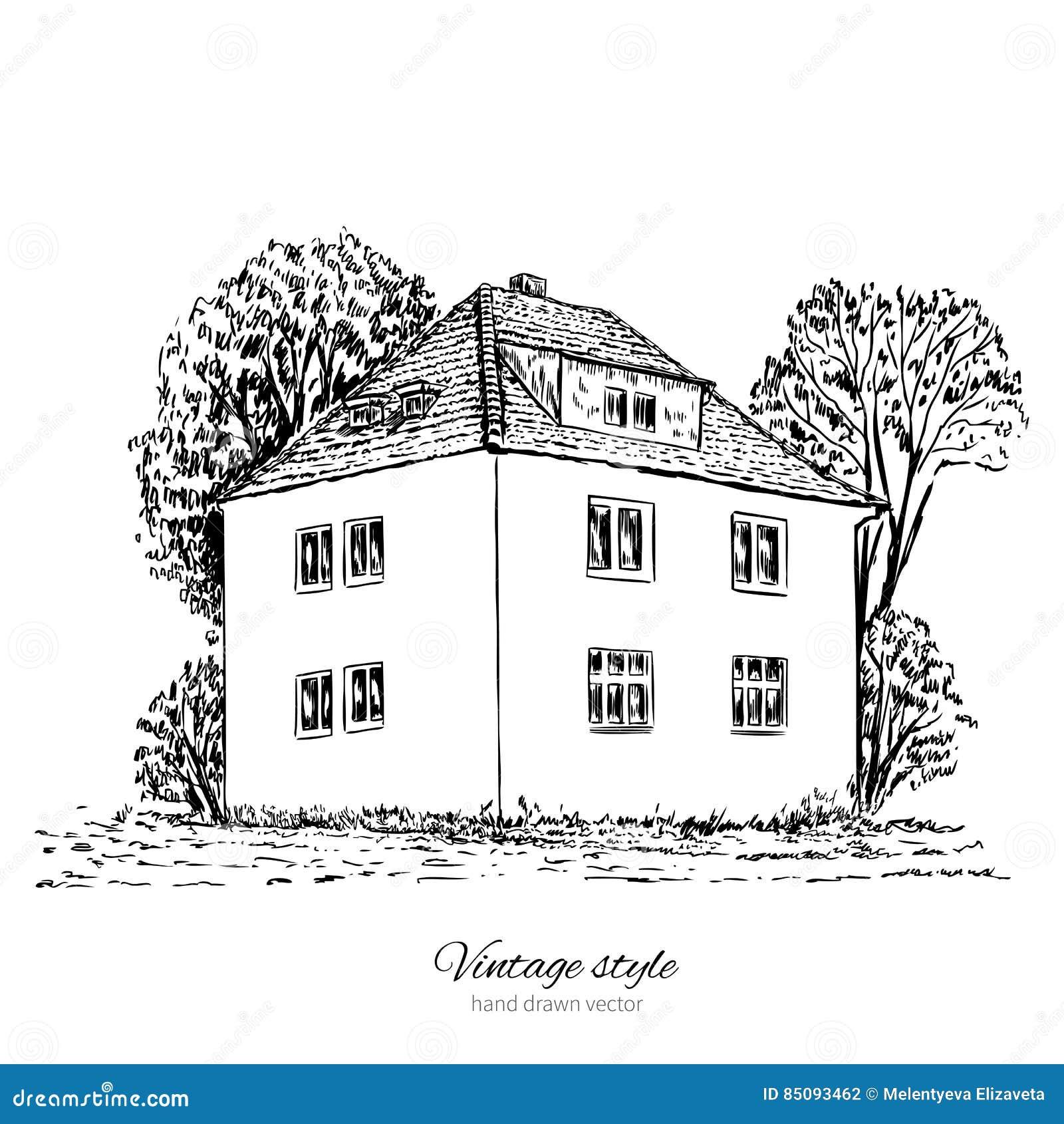 Het uitstekende vector oude Europese huis van de schetstegel, herenhuis, Historische de bouw schetsmatige lijn