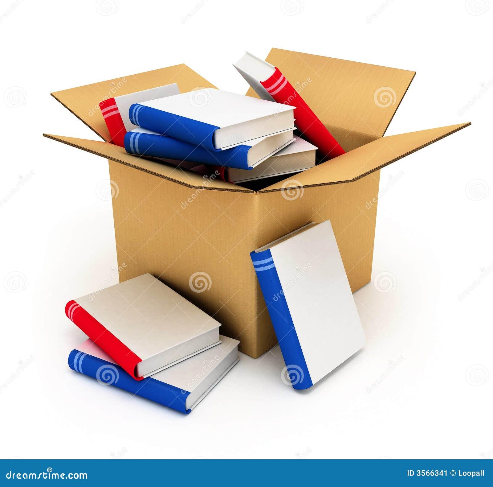 Het vakje van het karton met boeken