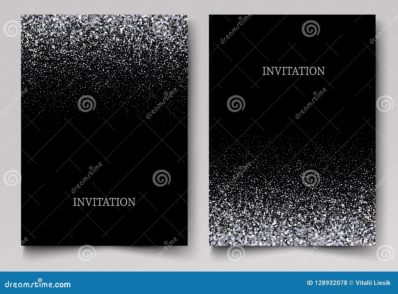 Het vallen schittert confettien Vector zilveren stof, explosie op zwarte achtergrond Het fonkelen schittert grens, feestelijk kad