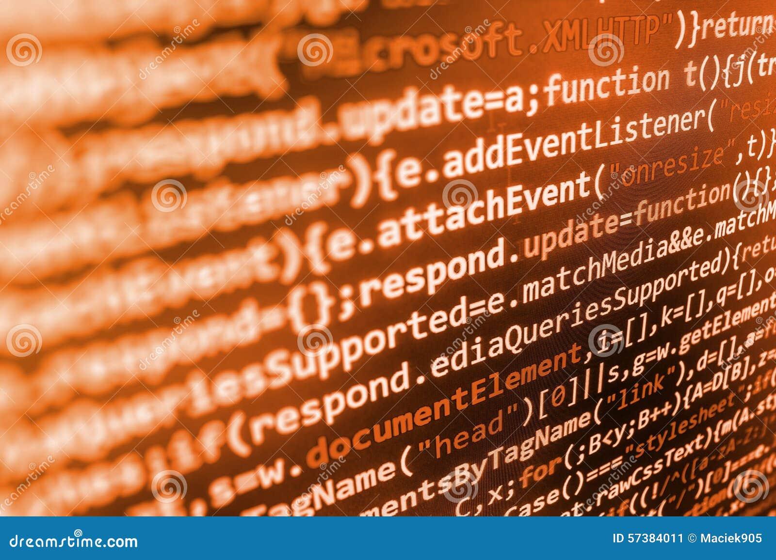 Het van de bron programmeringscodage codescherm