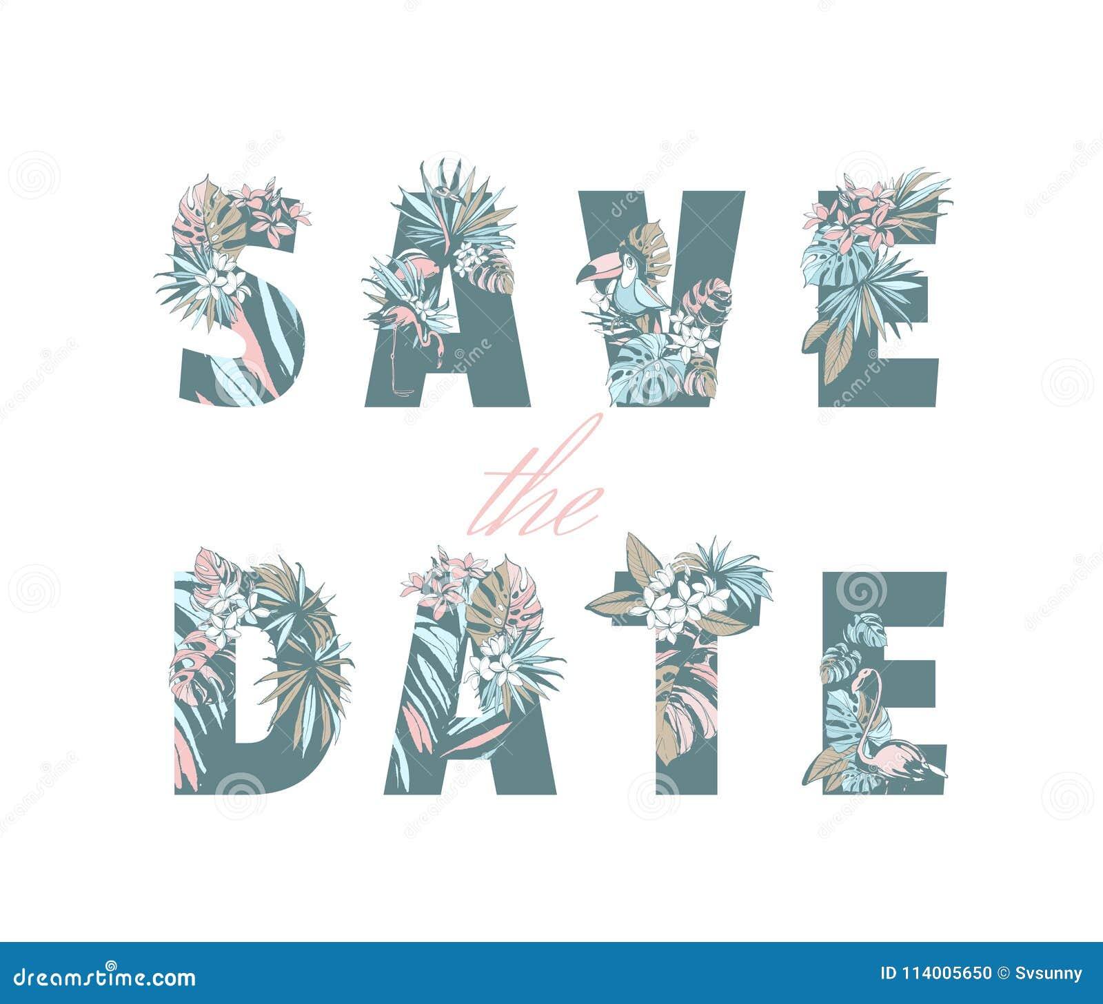 Het van letters voorzien bewaart de hand van de de uitnodigingskaart van het Datumhuwelijk getrokken tropisch patroon