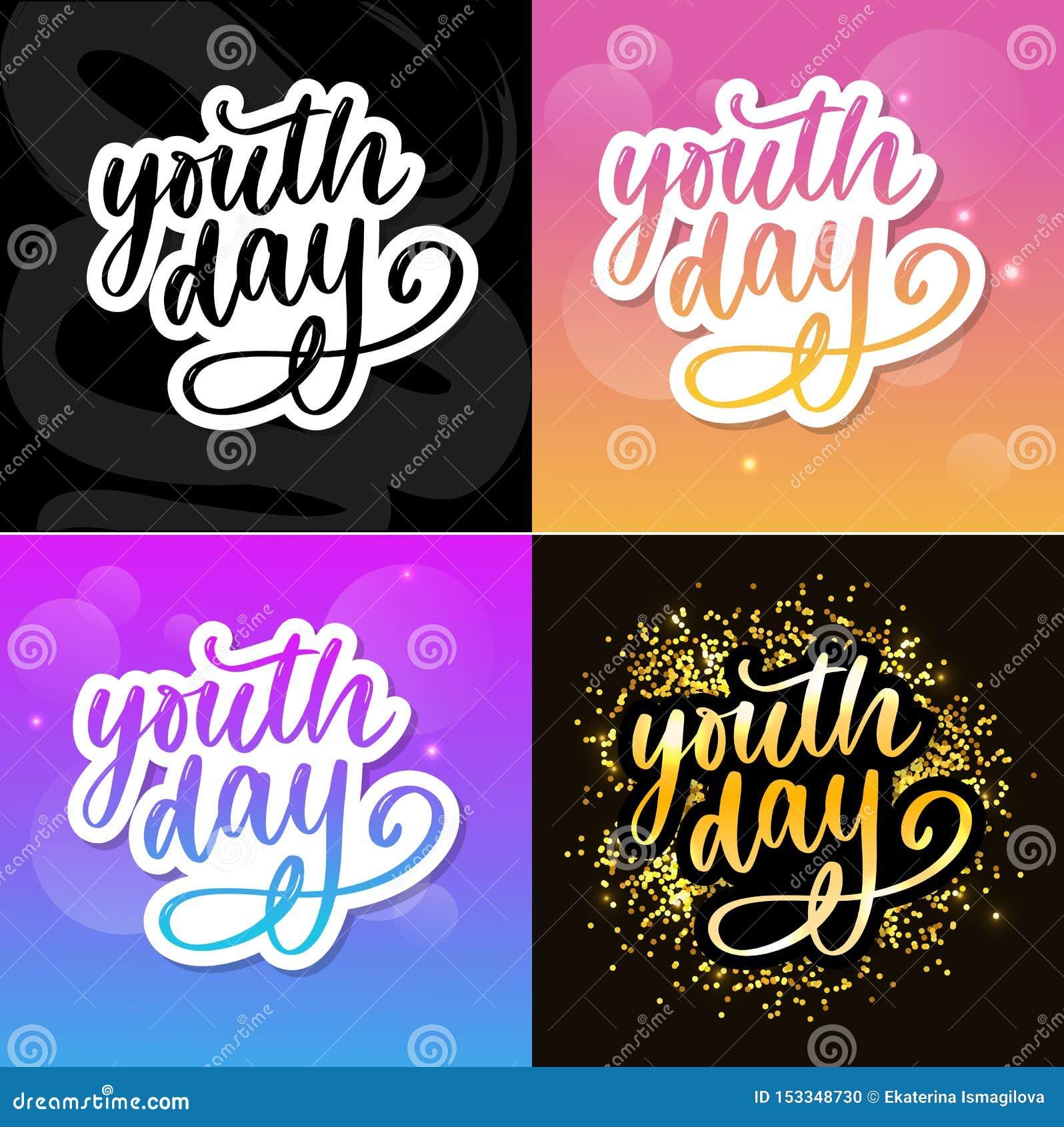 Het van letters voorzien van Internationale van de de jeugddag gele slogan als achtergrond