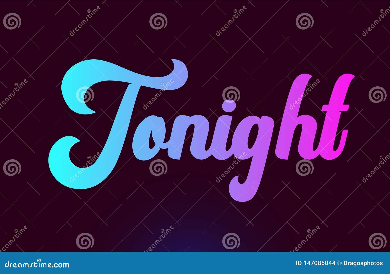 Het vanavond roze ontwerp van het het embleempictogram van de woordtekst voor typografie