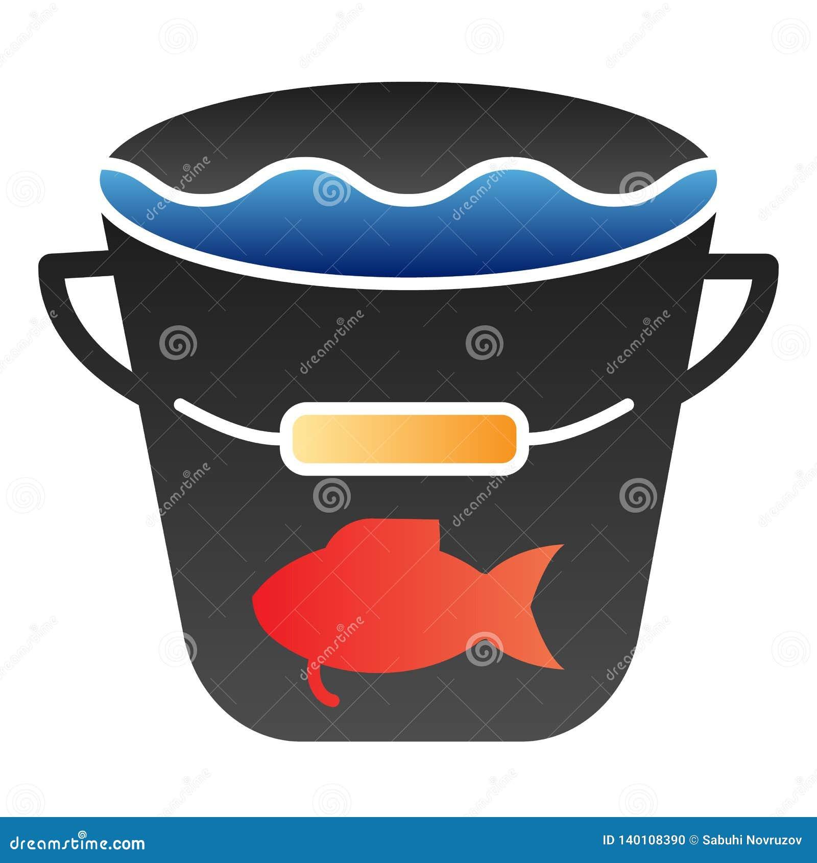 Het vangst vlakke pictogram De visserij van de pictogrammen van de emmerkleur in in vlakke stijl Emmer met water en vissen het on