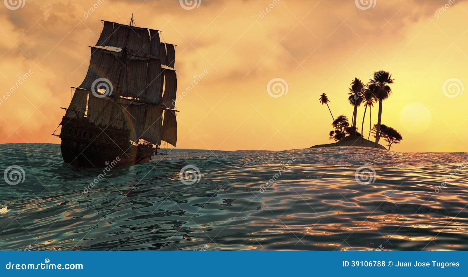 Het varen en zonsondergang