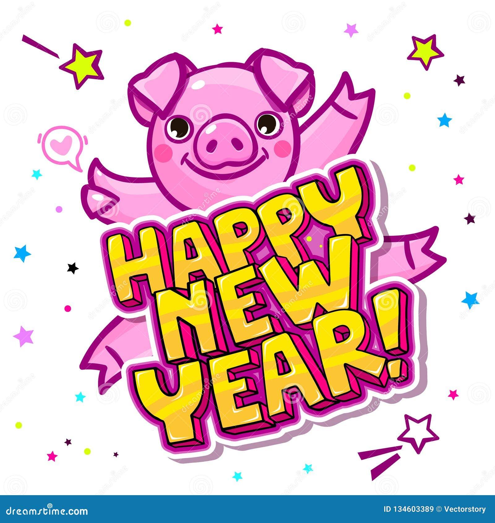 Het varken is een symbool van het nieuwe jaar van 2019 Hoofd van het Varken in pop-artstijl